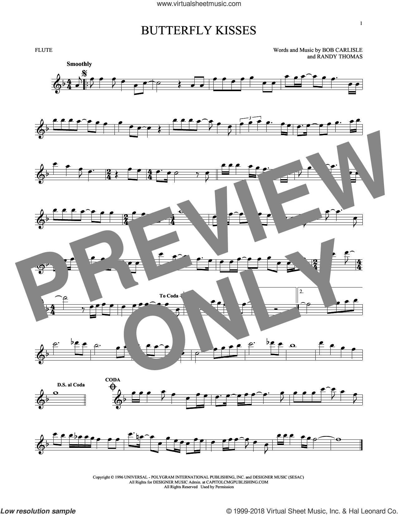 Butterfly Kisses sheet music for flute solo by Bob Carlisle, Jeff Carson and Randy Thomas, wedding score, intermediate skill level