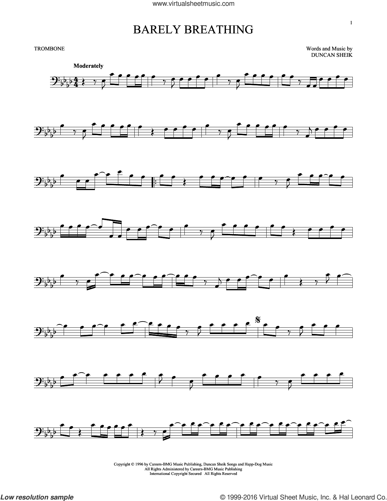 Barely Breathing sheet music for trombone solo by Duncan Sheik, intermediate. Score Image Preview.