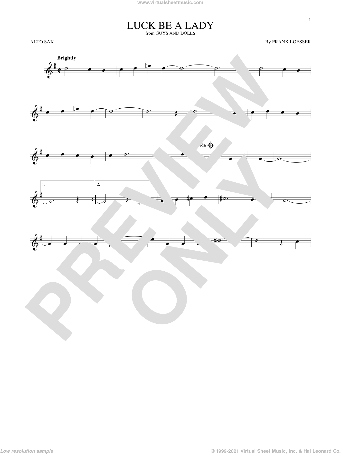 Luck Be A Lady sheet music for alto saxophone solo by Frank Loesser, intermediate skill level