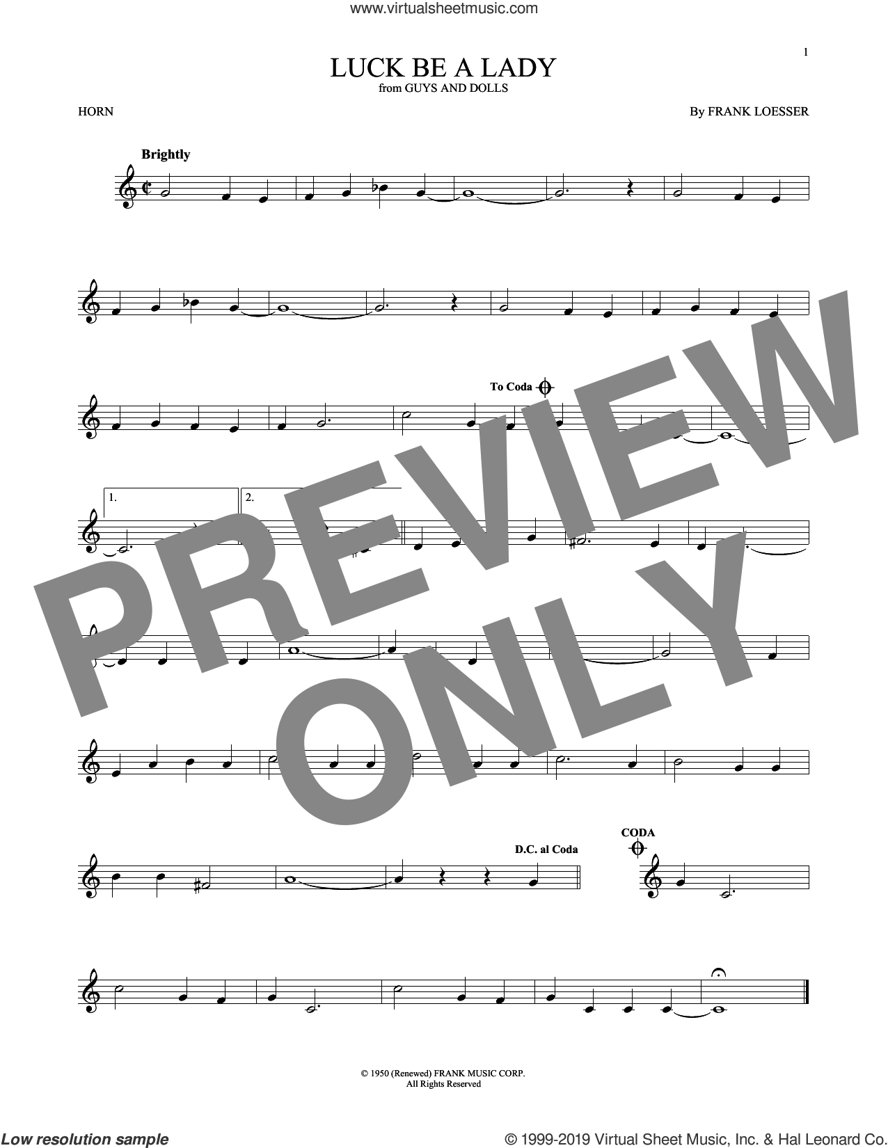 Luck Be A Lady sheet music for horn solo by Frank Loesser, intermediate skill level