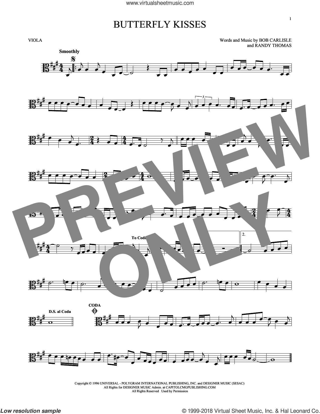Butterfly Kisses sheet music for viola solo by Bob Carlisle, Jeff Carson and Randy Thomas, wedding score, intermediate skill level