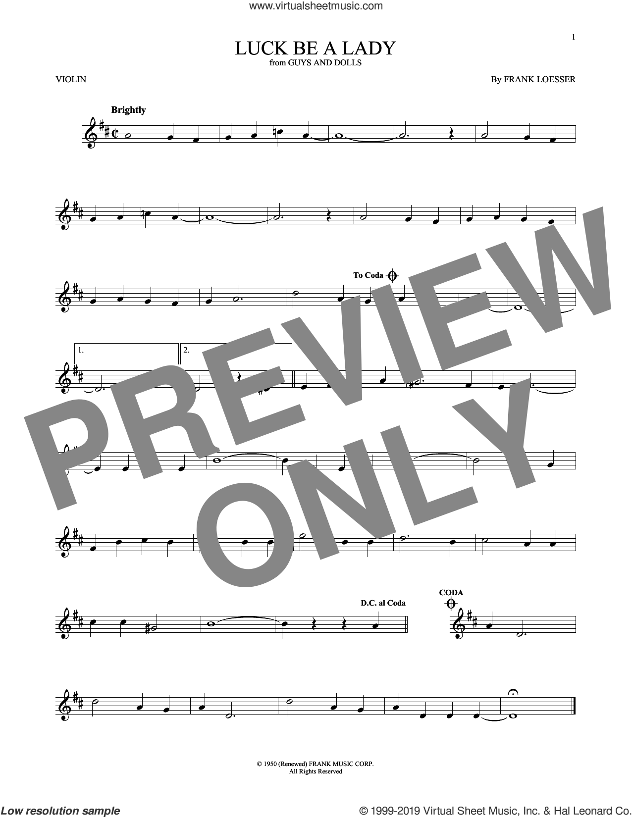 Luck Be A Lady sheet music for violin solo by Frank Loesser, intermediate skill level