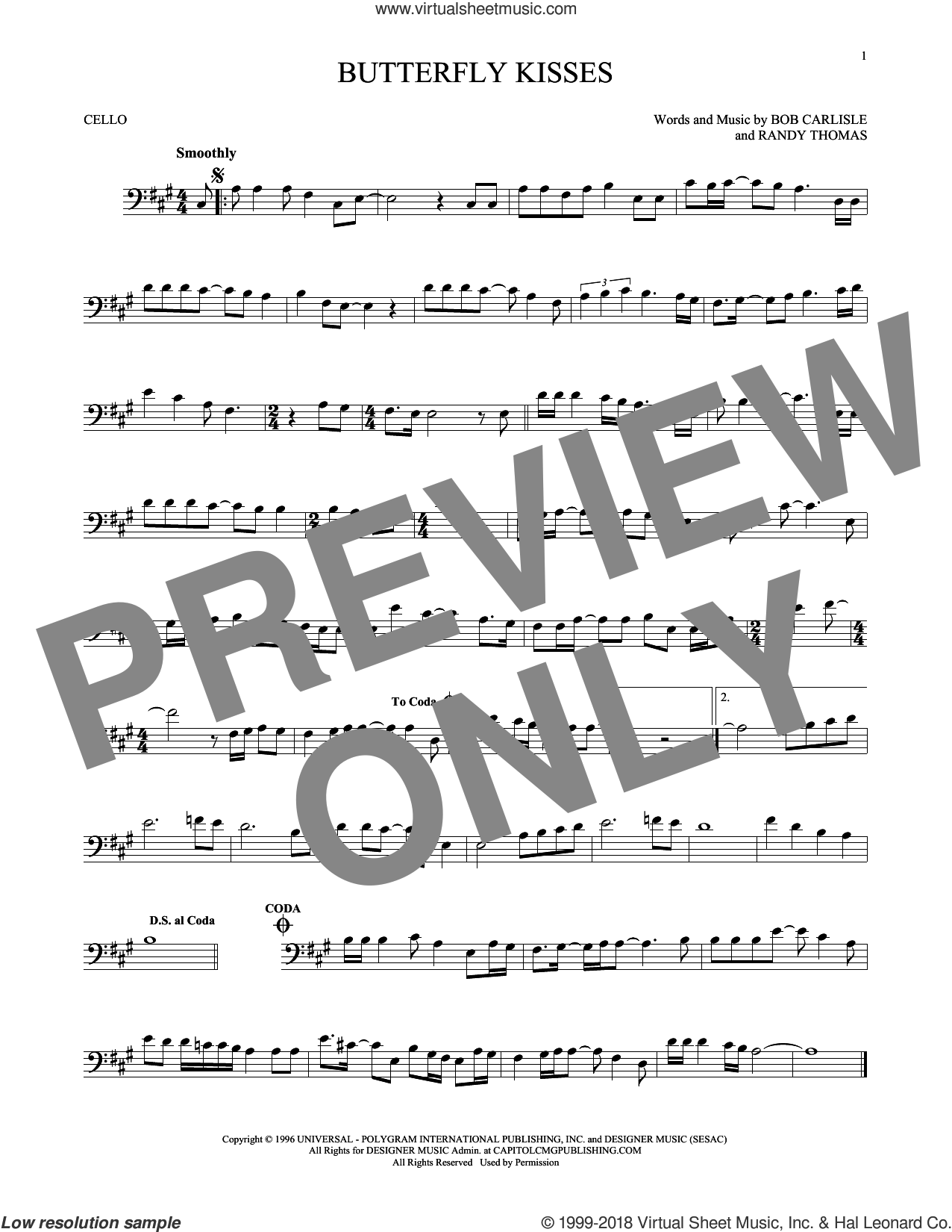 Butterfly Kisses sheet music for cello solo by Bob Carlisle, Jeff Carson and Randy Thomas, wedding score, intermediate skill level