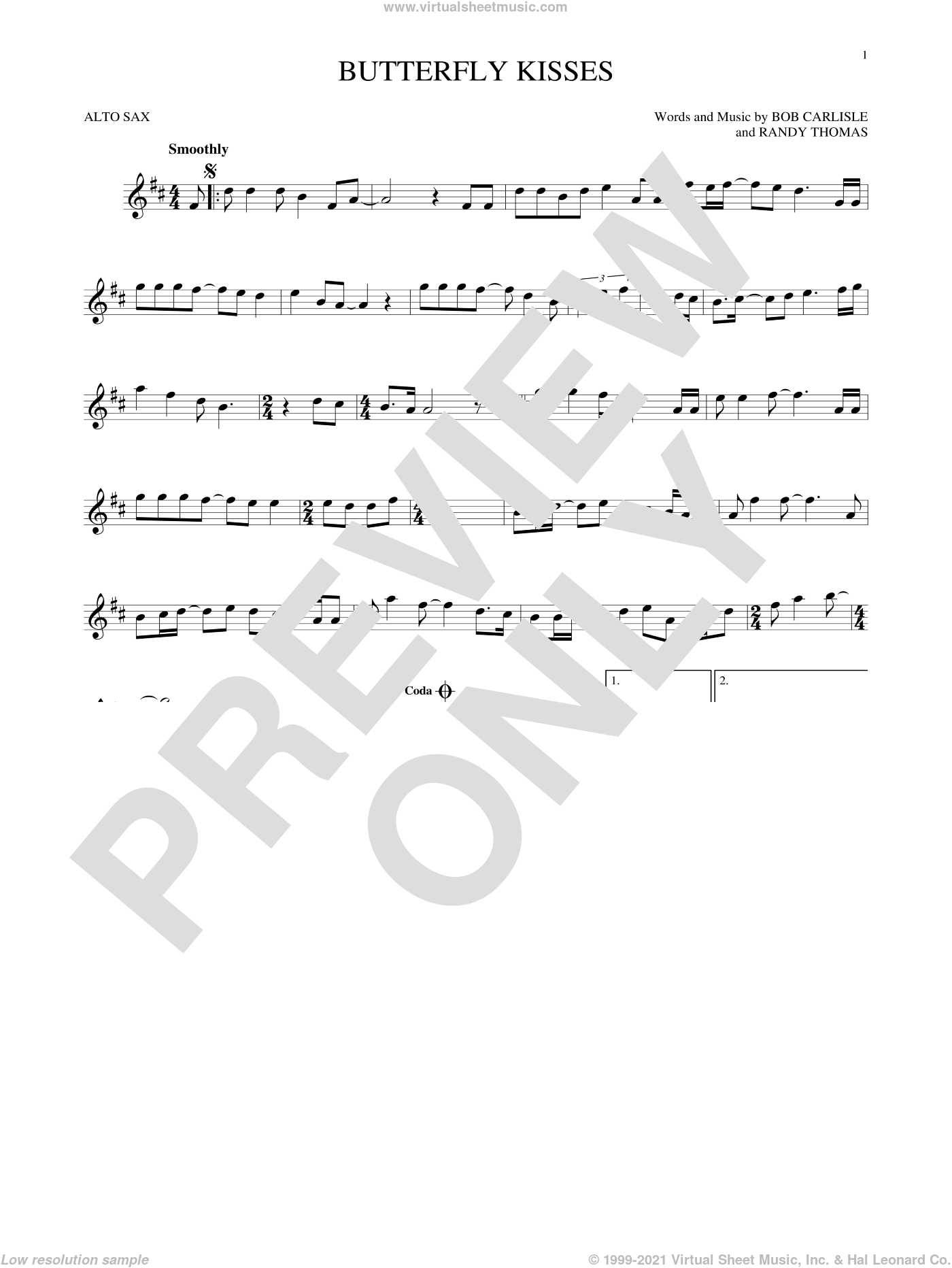 Butterfly Kisses sheet music for alto saxophone solo by Bob Carlisle and Jeff Carson. Score Image Preview.