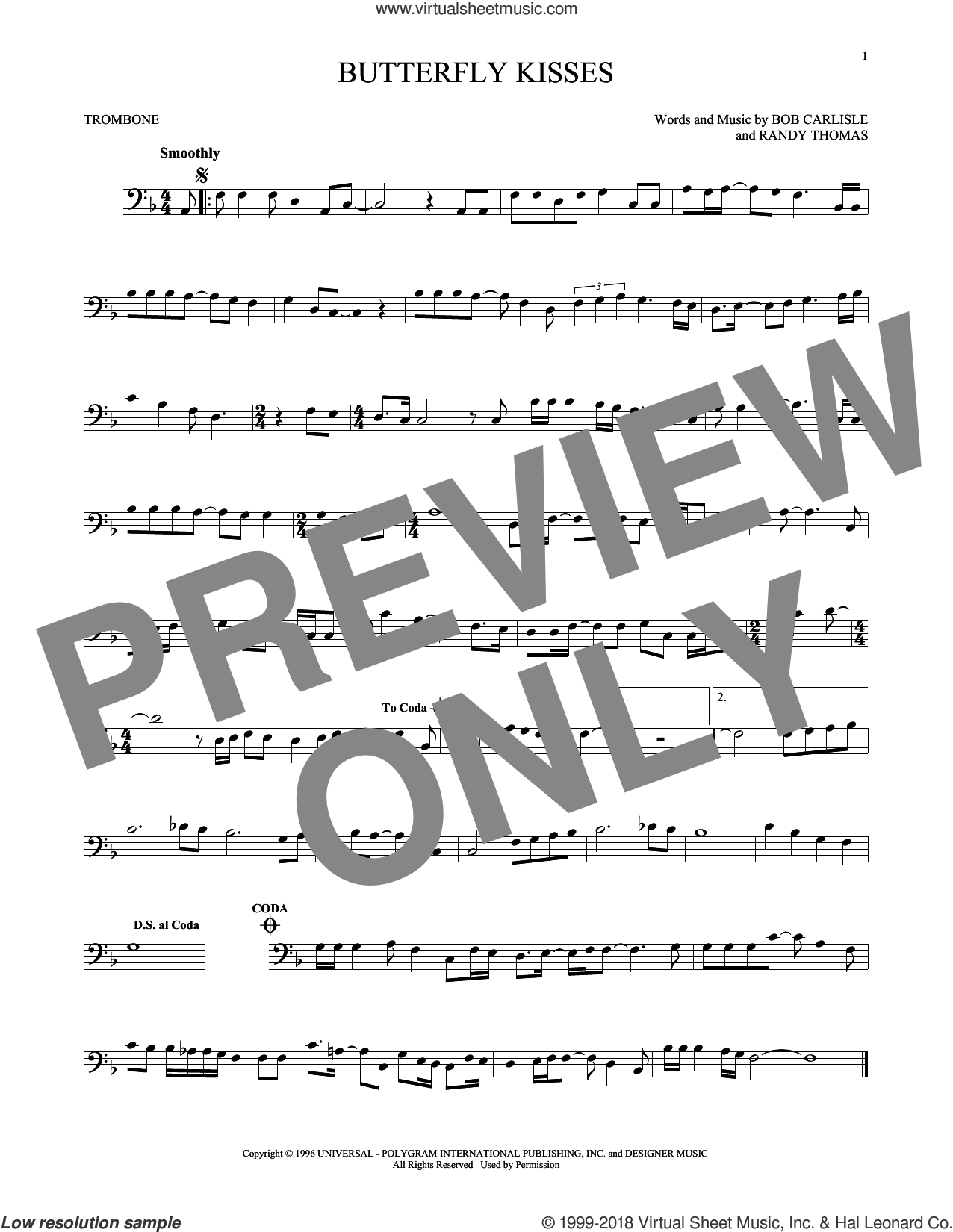 Butterfly Kisses sheet music for trombone solo by Bob Carlisle, Jeff Carson and Randy Thomas, wedding score, intermediate skill level