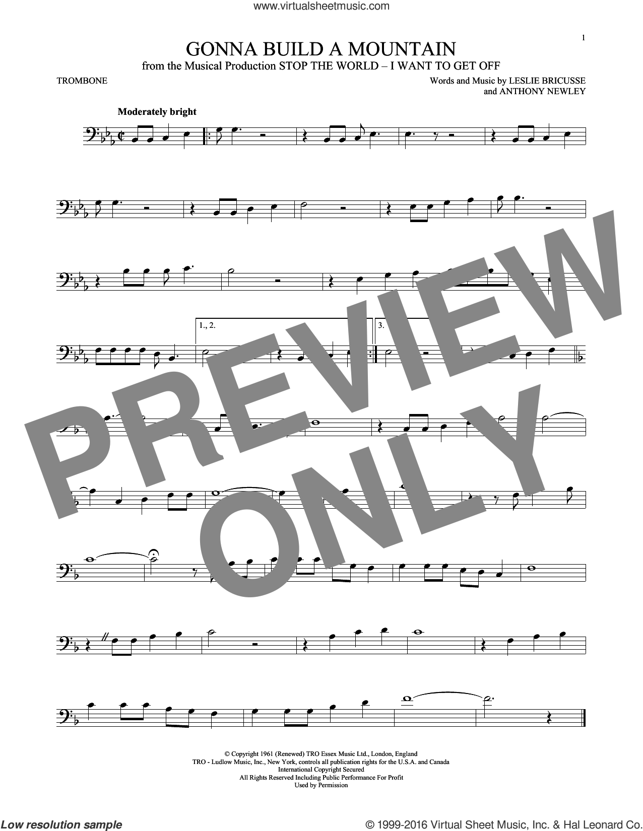 Gonna Build A Mountain sheet music for trombone solo by Leslie Bricusse and Anthony Newley, intermediate. Score Image Preview.