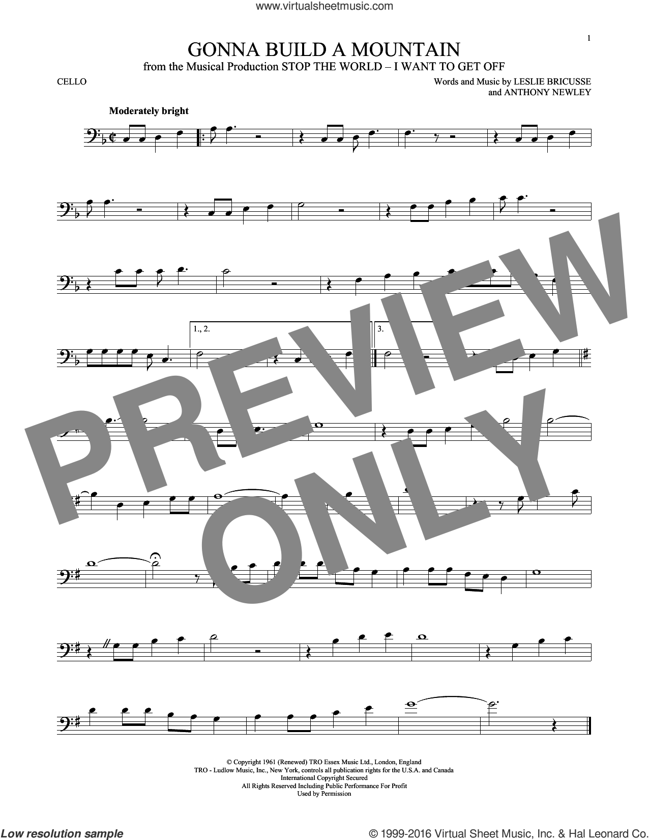 Gonna Build A Mountain sheet music for cello solo by Leslie Bricusse and Anthony Newley, intermediate skill level