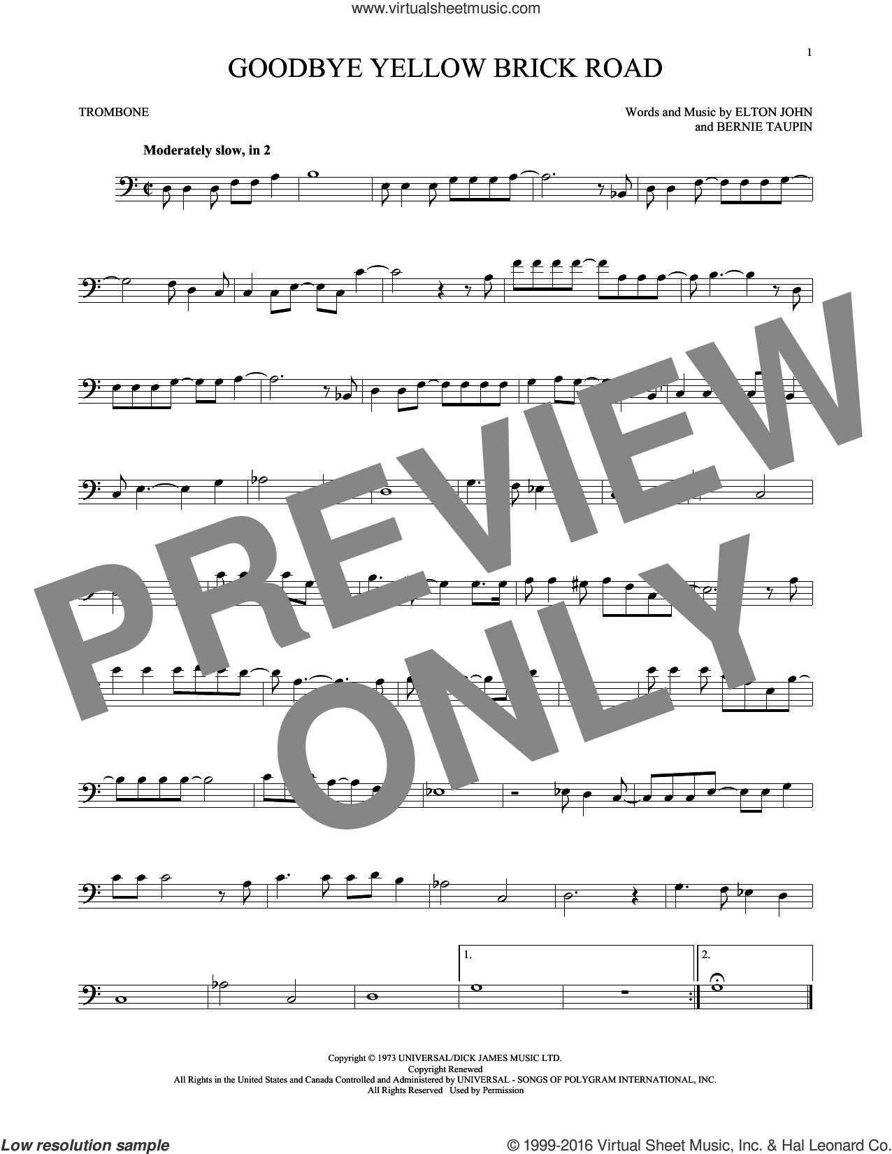 Goodbye Yellow Brick Road sheet music for trombone solo by Elton John and Bernie Taupin, intermediate skill level