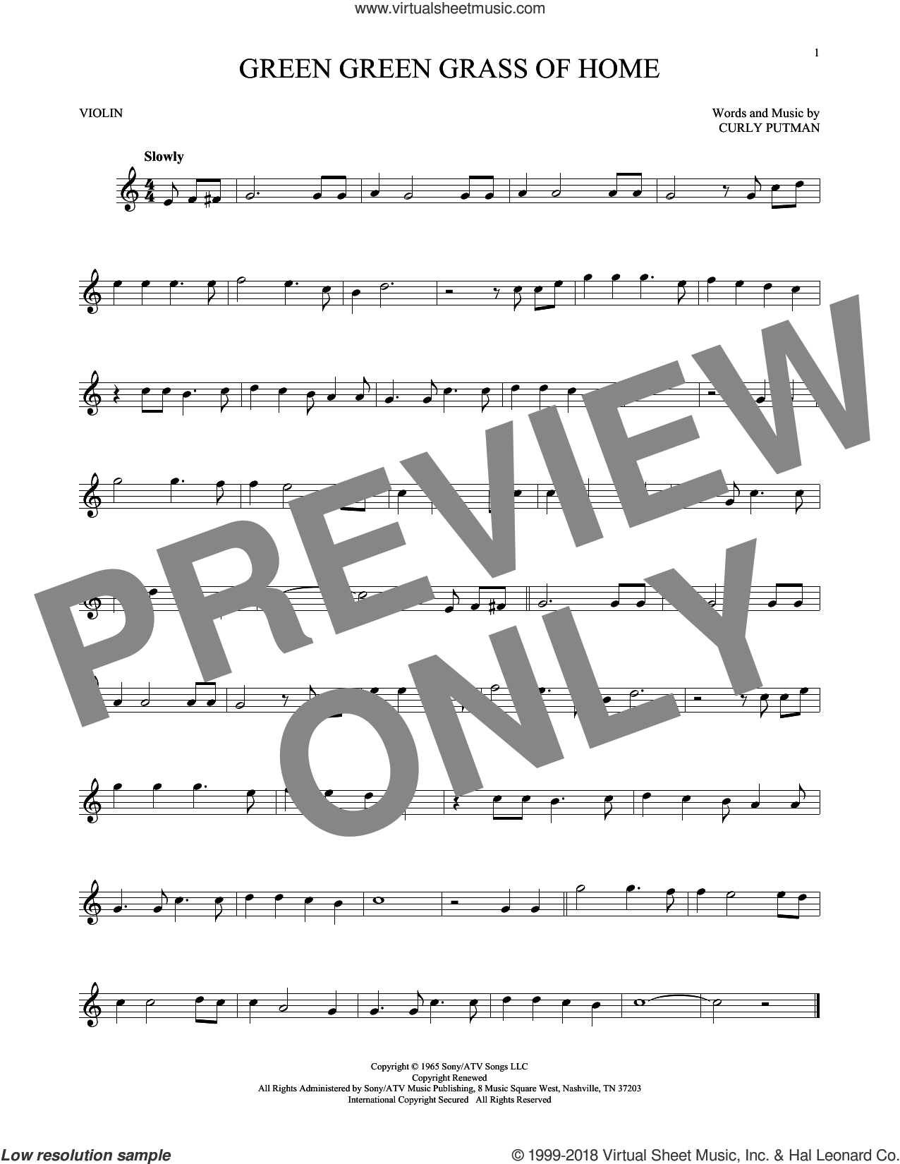 Green Green Grass Of Home sheet music for violin solo by Curly Putman, Elvis Presley, Porter Wagoner and Tom Jones, intermediate skill level