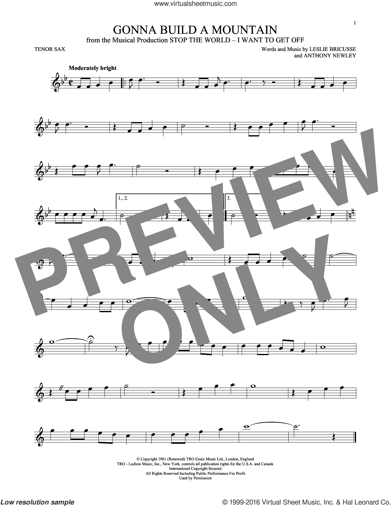 Gonna Build A Mountain sheet music for tenor saxophone solo by Leslie Bricusse and Anthony Newley, intermediate skill level
