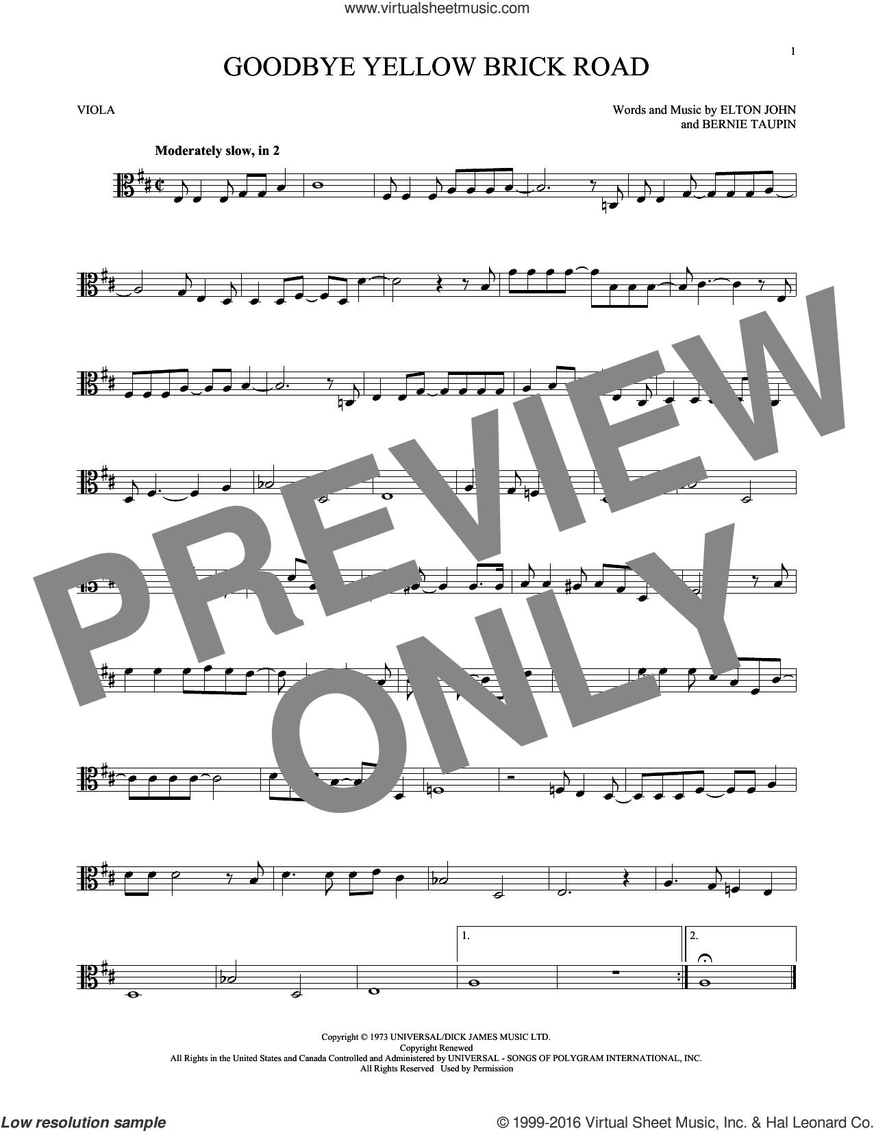Goodbye Yellow Brick Road sheet music for viola solo by Elton John and Bernie Taupin, intermediate skill level