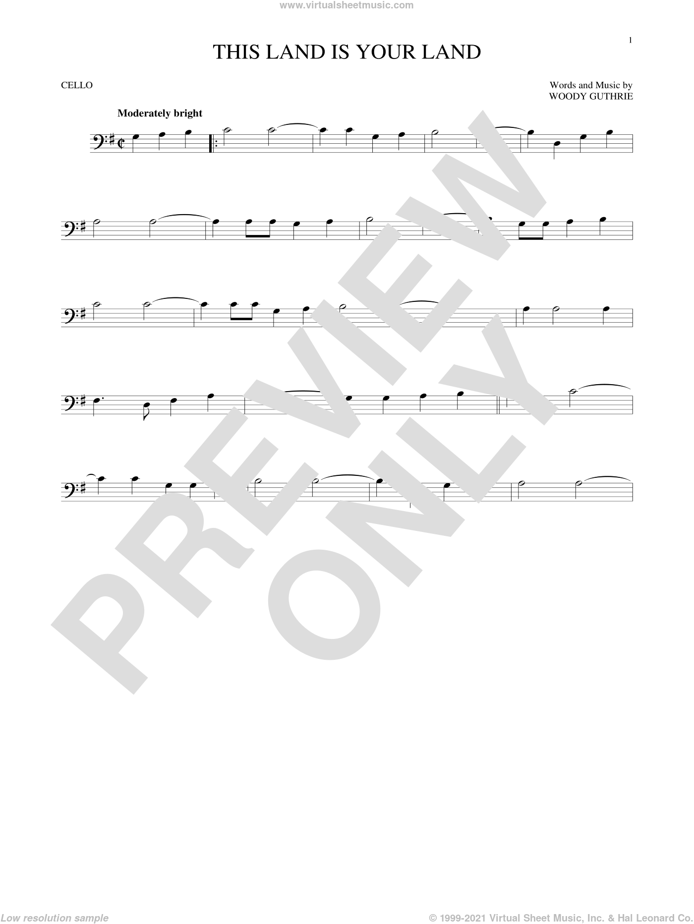 This Land Is Your Land sheet music for cello solo by Woody Guthrie, intermediate. Score Image Preview.
