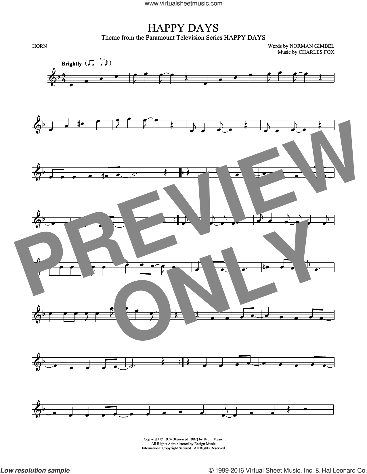 Happy Days sheet music for horn solo by Pratt and McClain, Charles Fox and Norman Gimbel. Score Image Preview.