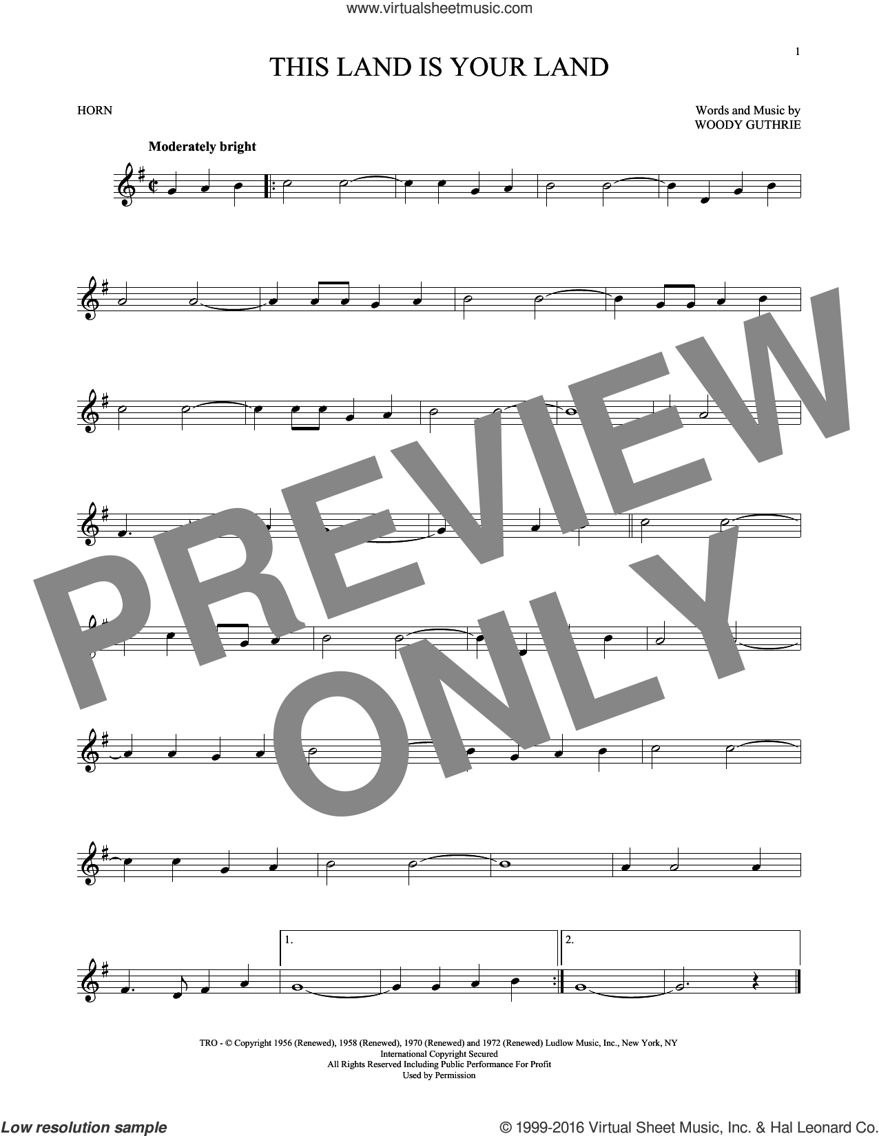 This Land Is Your Land sheet music for horn solo by Woody Guthrie. Score Image Preview.