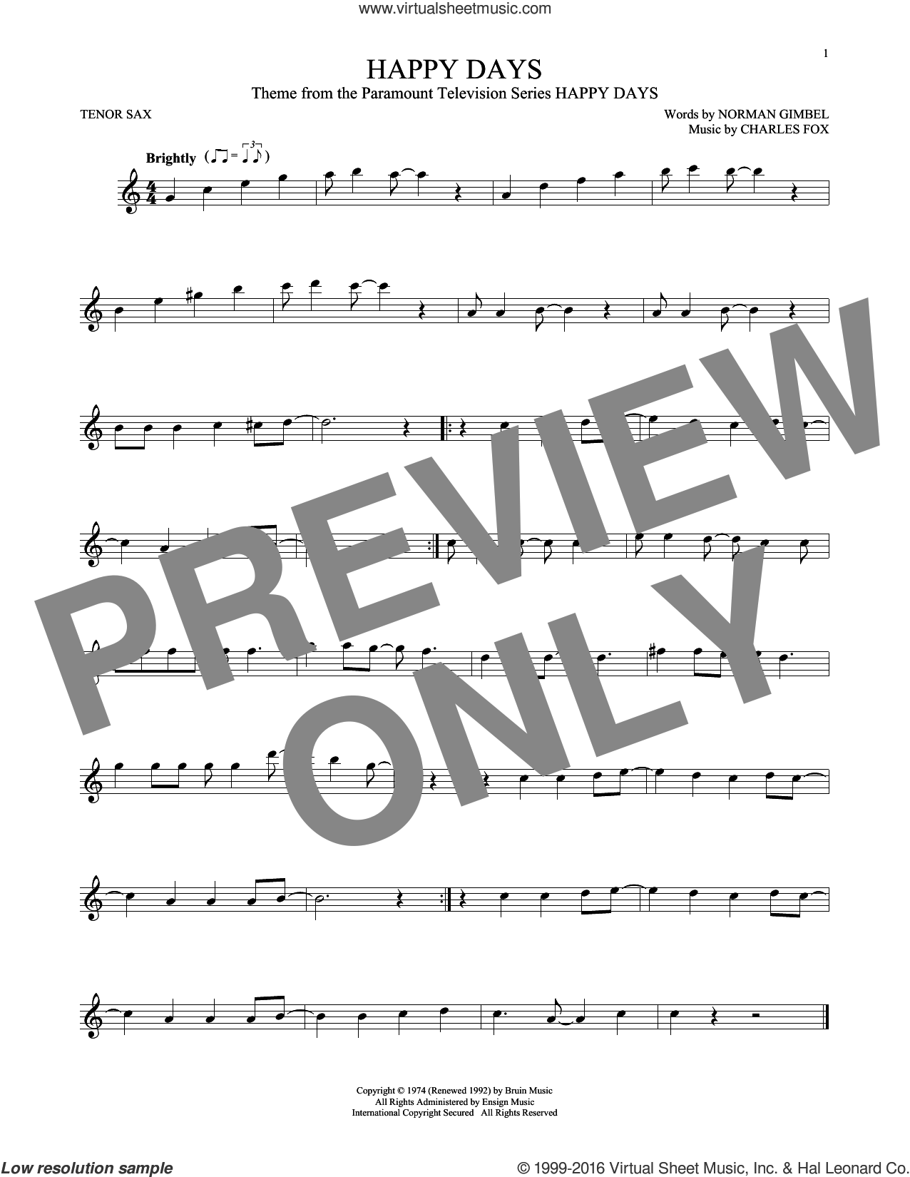 Happy Days sheet music for tenor saxophone solo by Pratt and McClain, Charles Fox and Norman Gimbel. Score Image Preview.