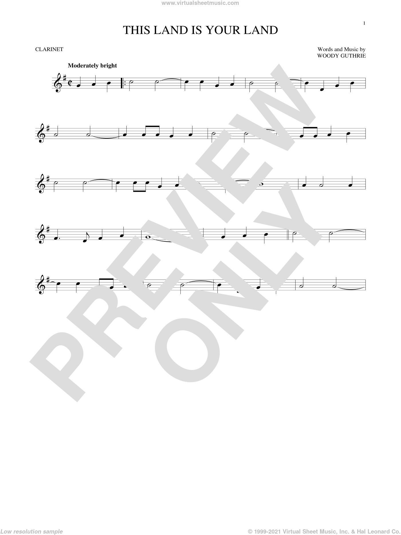 This Land Is Your Land sheet music for clarinet solo by Woody Guthrie, intermediate skill level