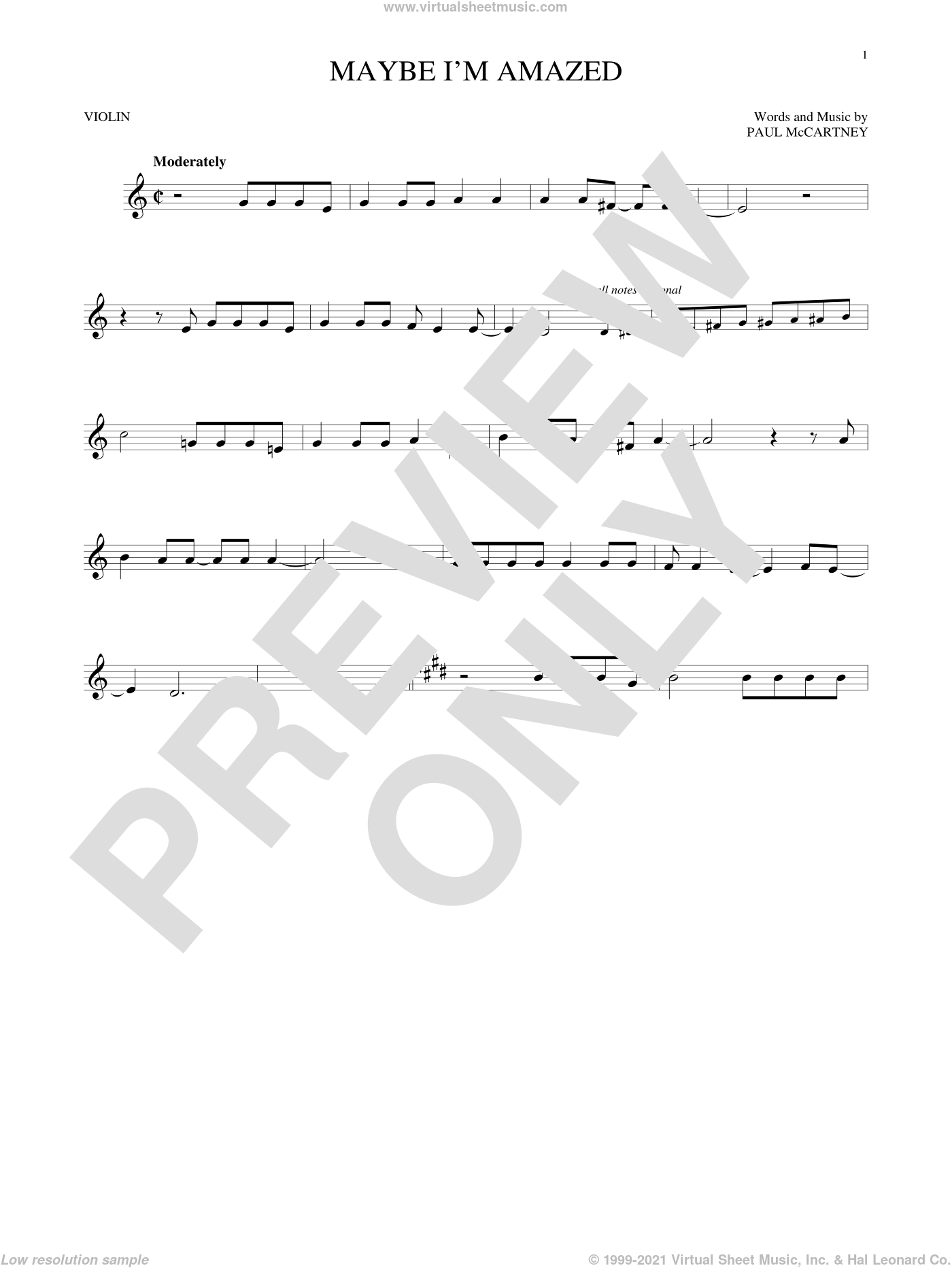 Maybe I'm Amazed sheet music for violin solo by Paul McCartney. Score Image Preview.