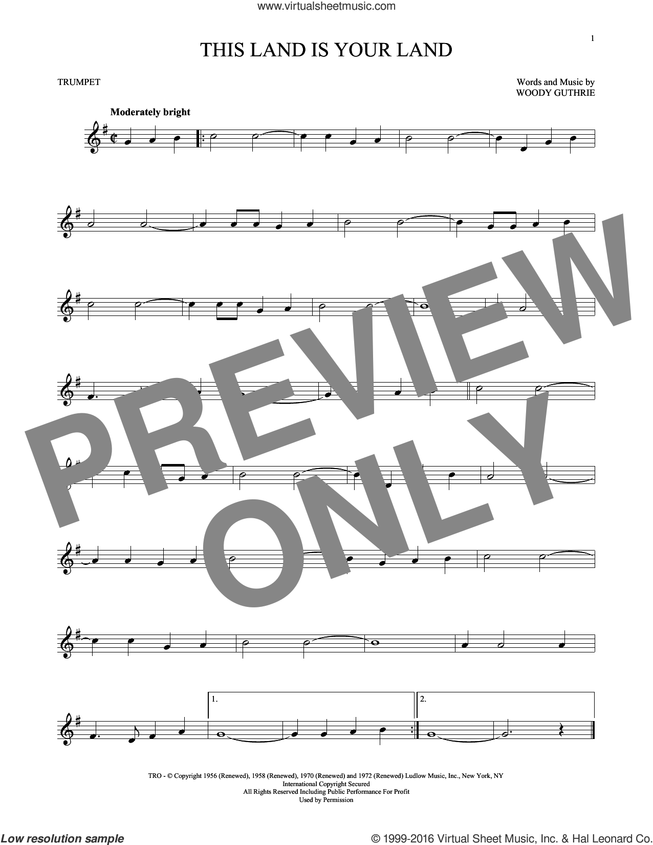 This Land Is Your Land sheet music for trumpet solo by Woody Guthrie. Score Image Preview.