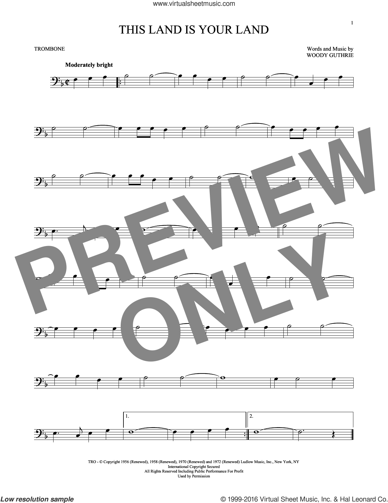 This Land Is Your Land sheet music for trombone solo by Woody Guthrie, intermediate trombone. Score Image Preview.