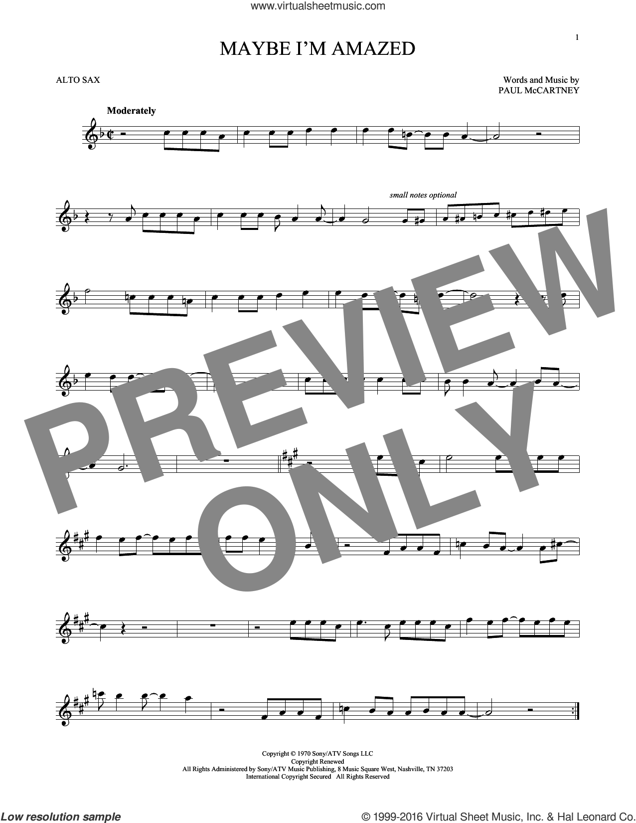Maybe I'm Amazed sheet music for alto saxophone solo by Paul McCartney, intermediate skill level