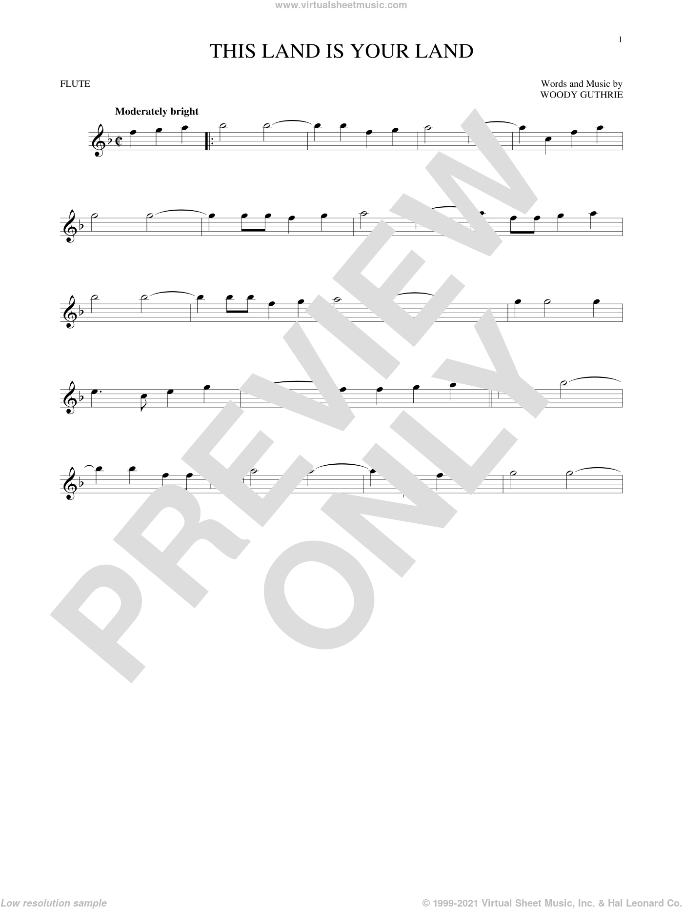 This Land Is Your Land sheet music for flute solo by Woody Guthrie. Score Image Preview.