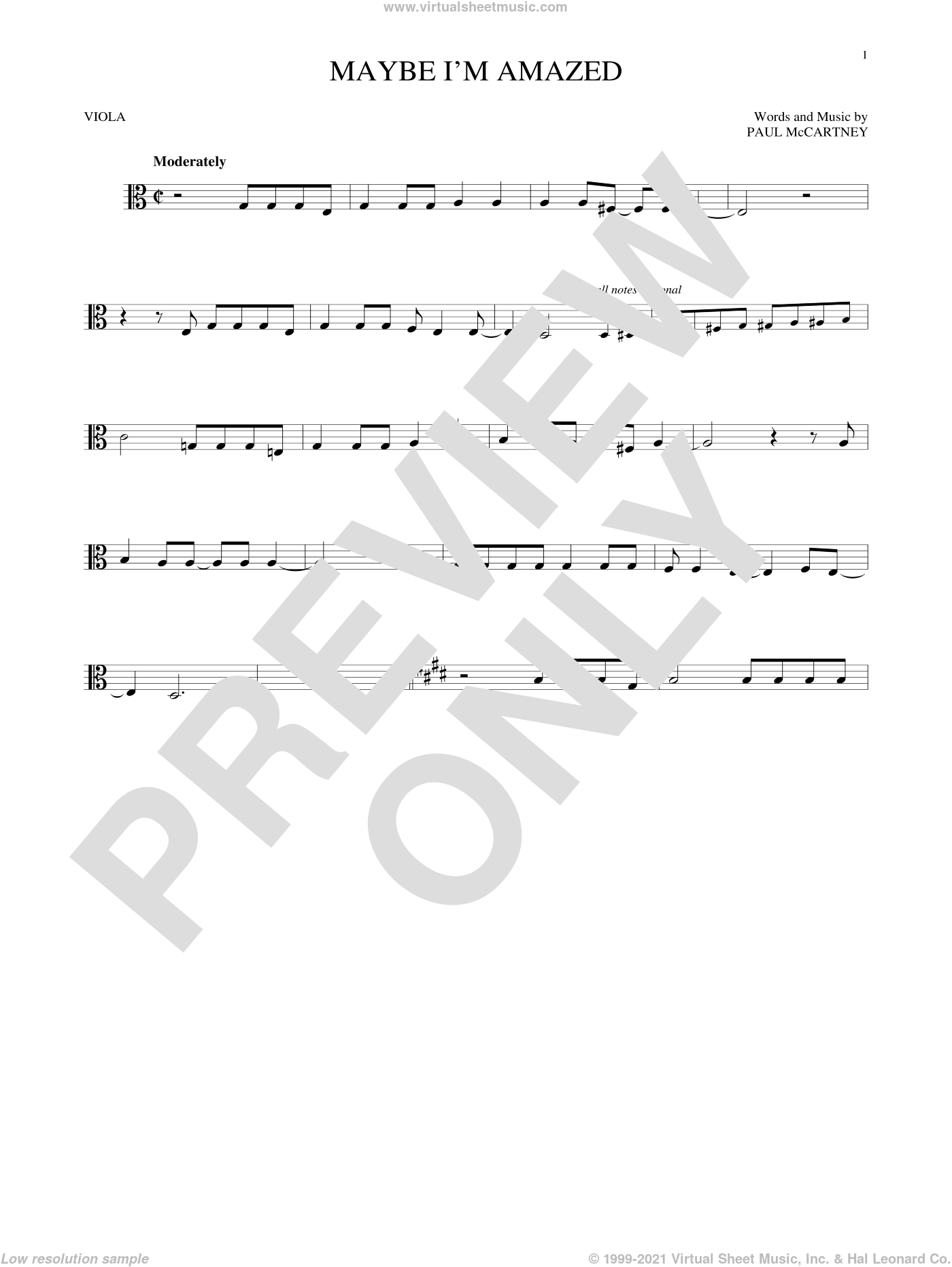 Maybe I'm Amazed sheet music for viola solo by Paul McCartney, intermediate skill level