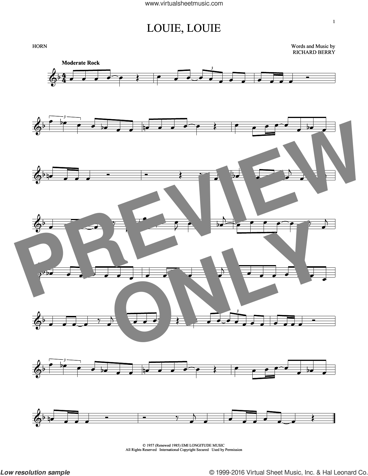 Louie, Louie sheet music for horn solo by The Kingsmen and Richard Berry, intermediate skill level