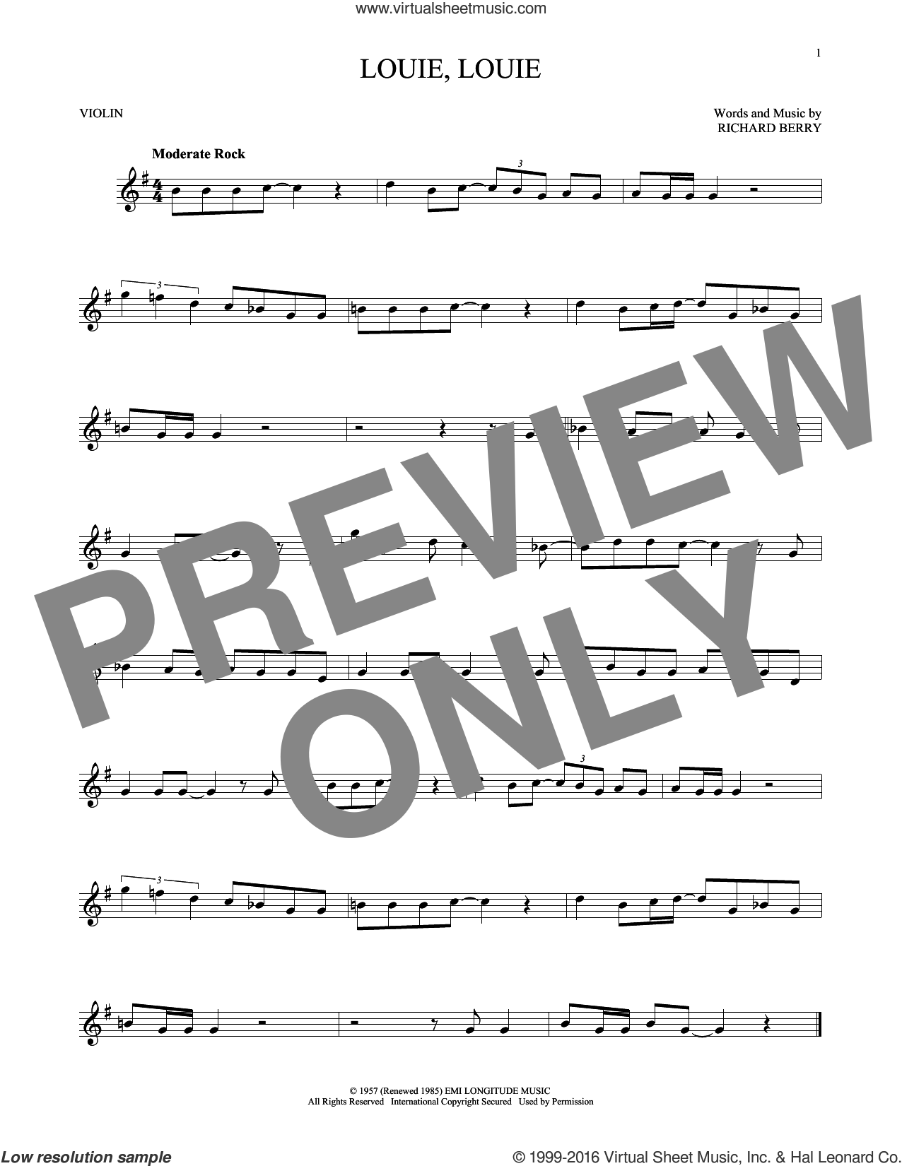 Louie, Louie sheet music for violin solo by Kingsmen and Richard Berry, intermediate skill level