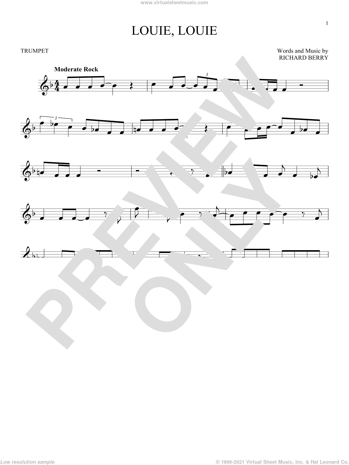 Louie, Louie sheet music for trumpet solo by Richard Berry. Score Image Preview.