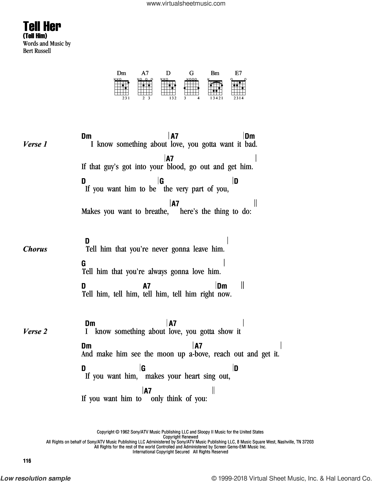 Tell Her (Tell Him) sheet music for guitar (chords) by Bert Russell. Score Image Preview.
