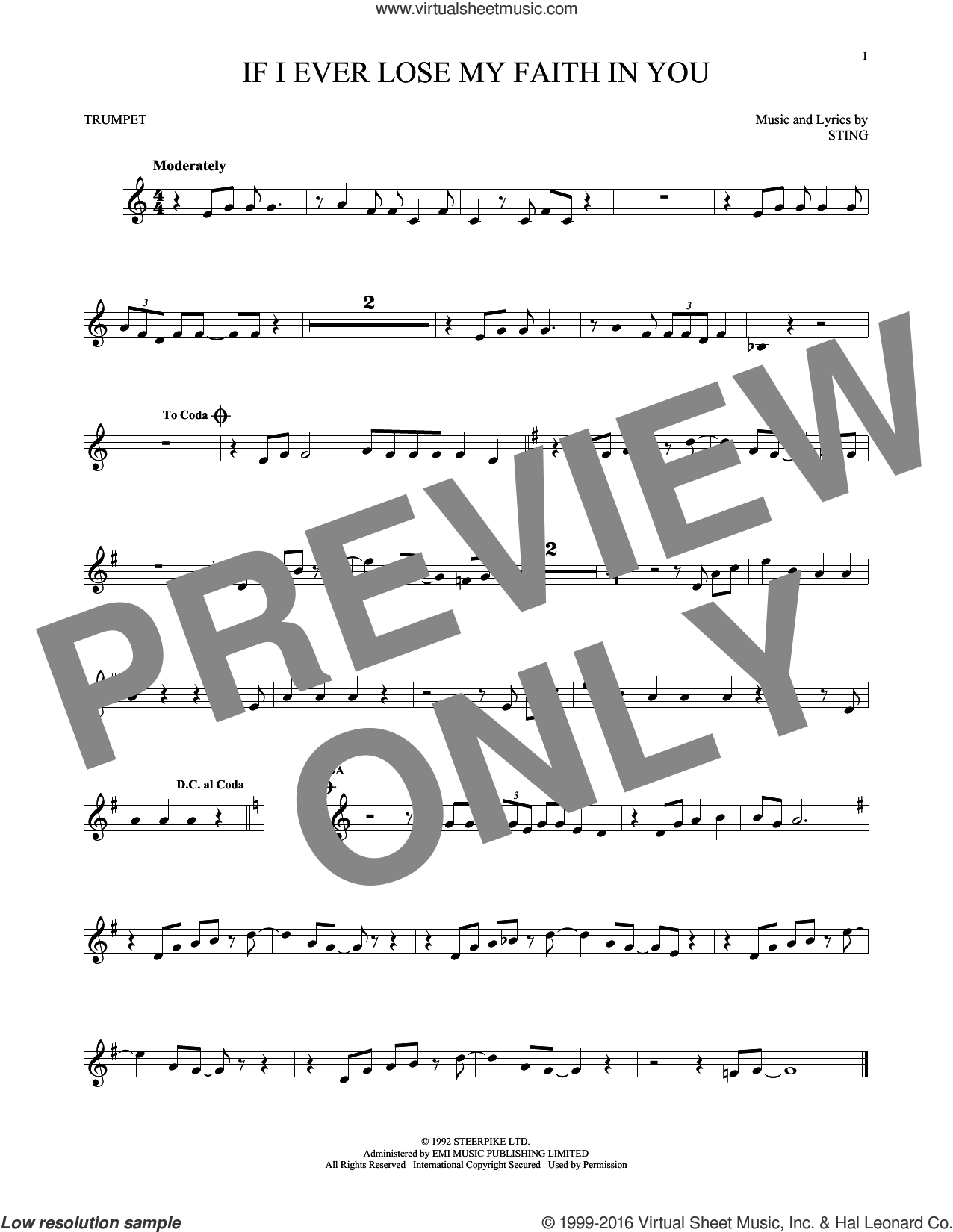 If I Ever Lose My Faith In You sheet music for trumpet solo by Sting, intermediate. Score Image Preview.