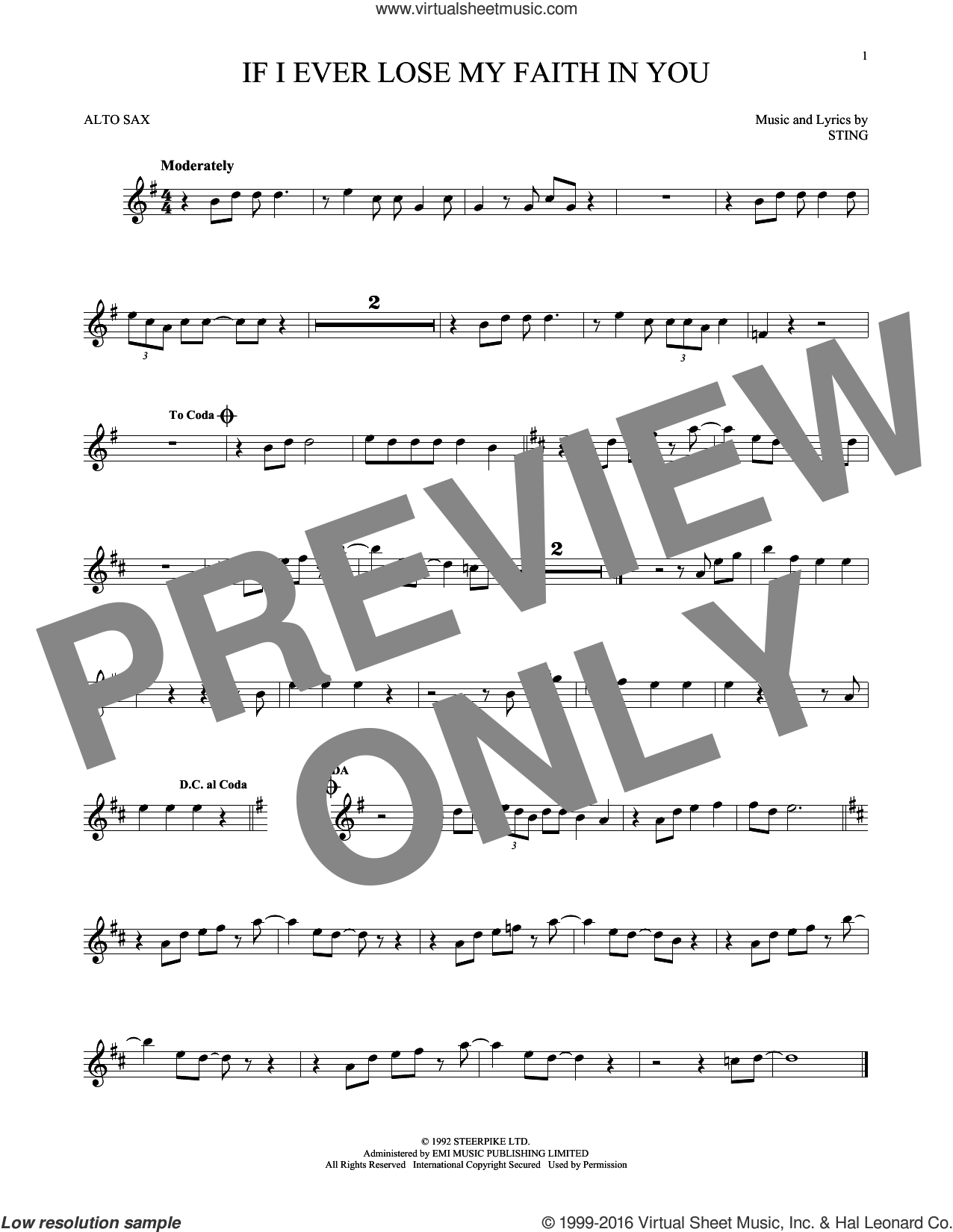 If I Ever Lose My Faith In You sheet music for alto saxophone solo by Sting. Score Image Preview.