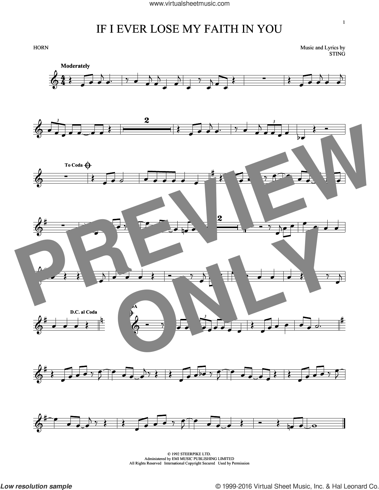 If I Ever Lose My Faith In You sheet music for horn solo by Sting. Score Image Preview.