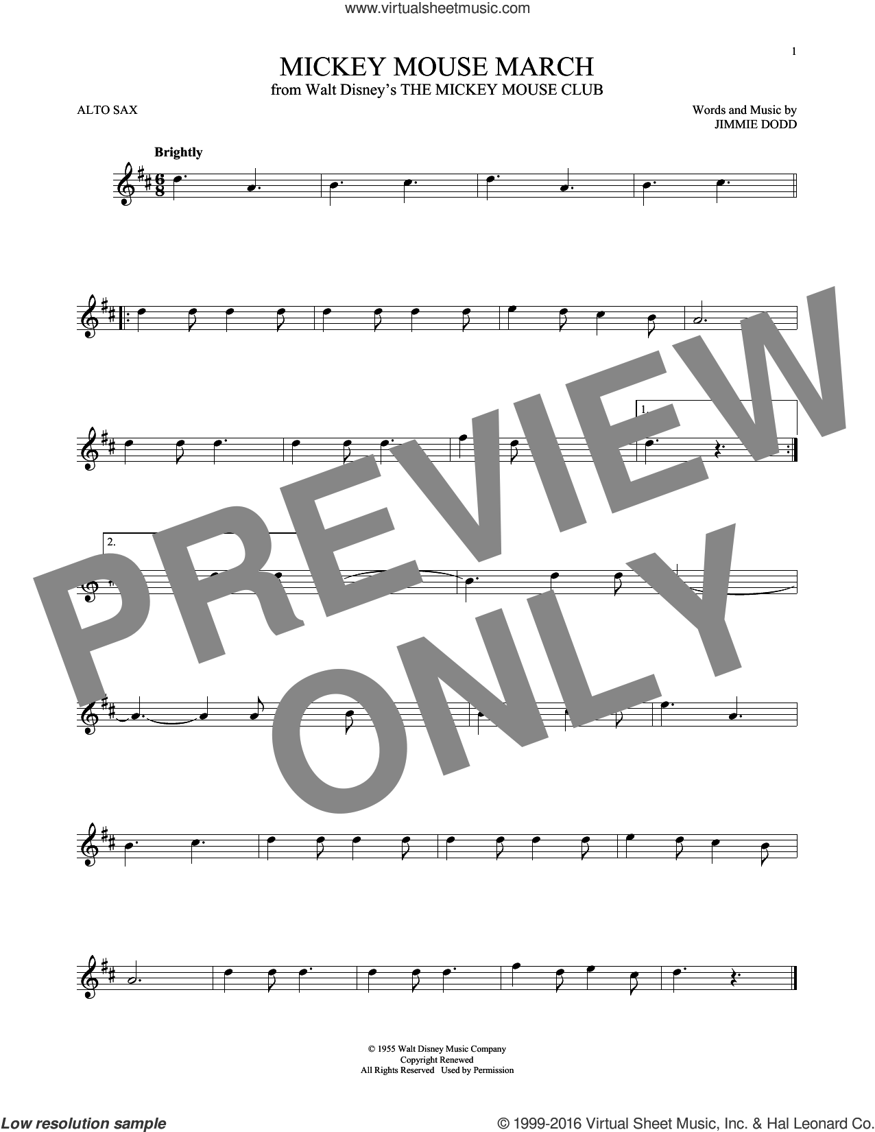 Mickey Mouse March sheet music for alto saxophone solo by Jimmie Dodd, intermediate. Score Image Preview.