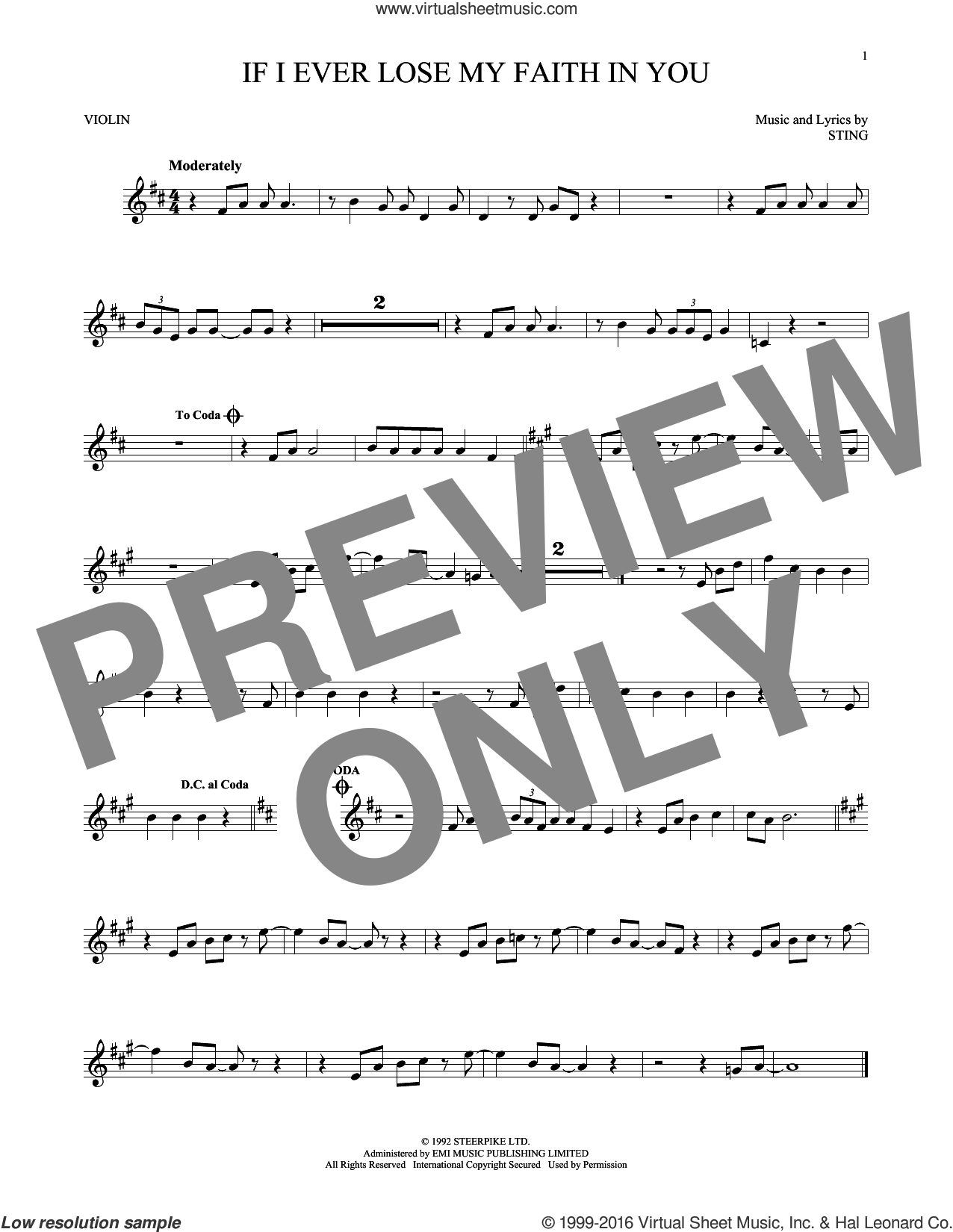If I Ever Lose My Faith In You sheet music for violin solo by Sting, intermediate skill level