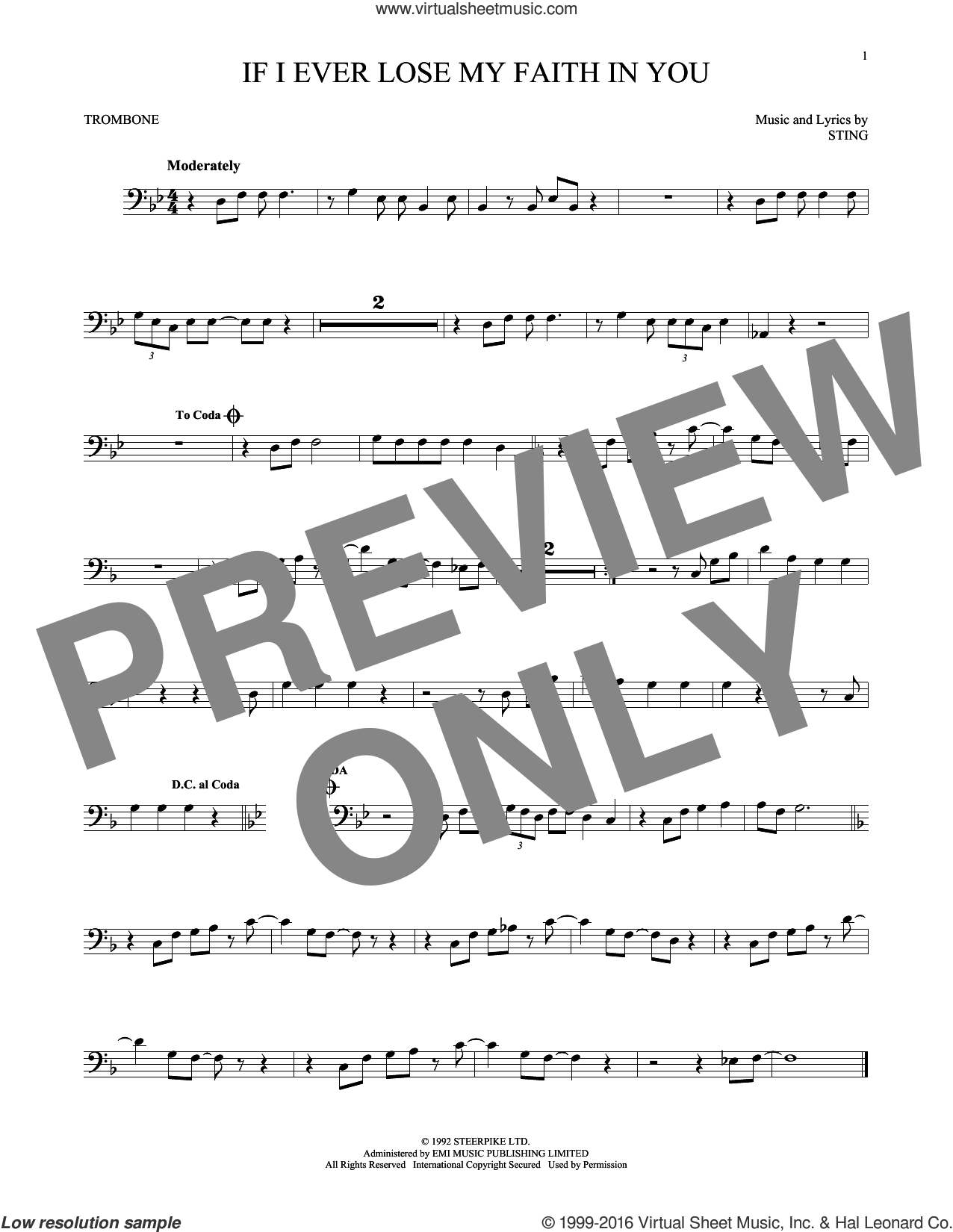 If I Ever Lose My Faith In You sheet music for trombone solo by Sting. Score Image Preview.