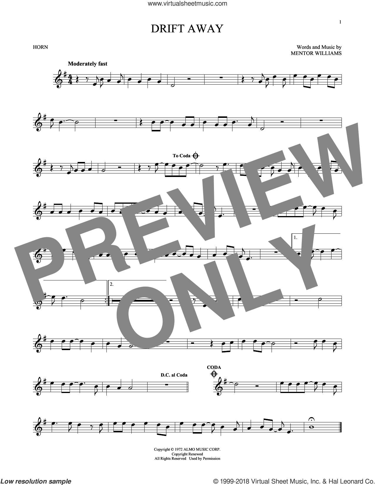 Drift Away sheet music for horn solo by Dobie Gray and Mentor Williams. Score Image Preview.