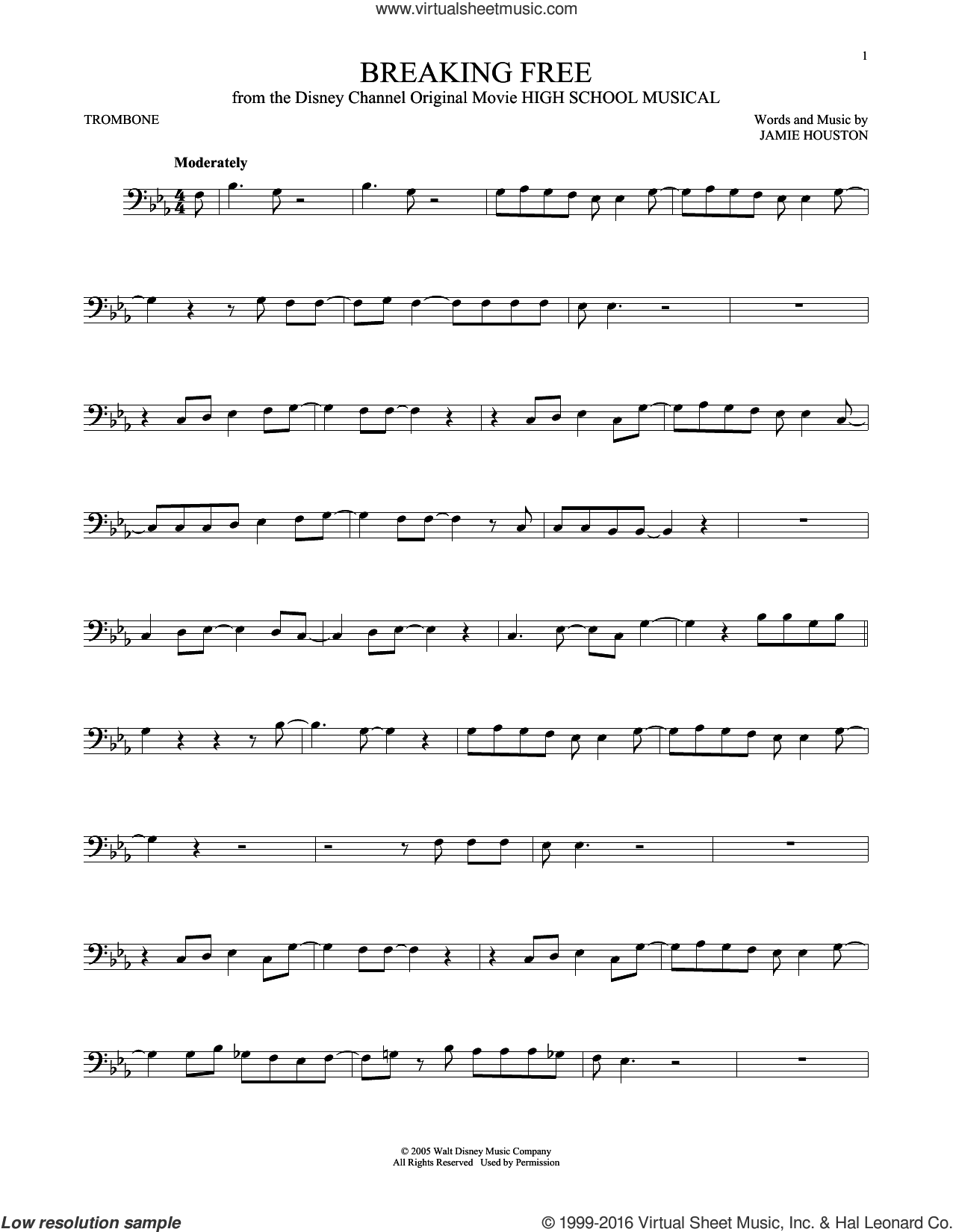 Breaking Free sheet music for trombone solo by Zac Efron & Vanessa Anne Hudgens and Jamie Houston. Score Image Preview.