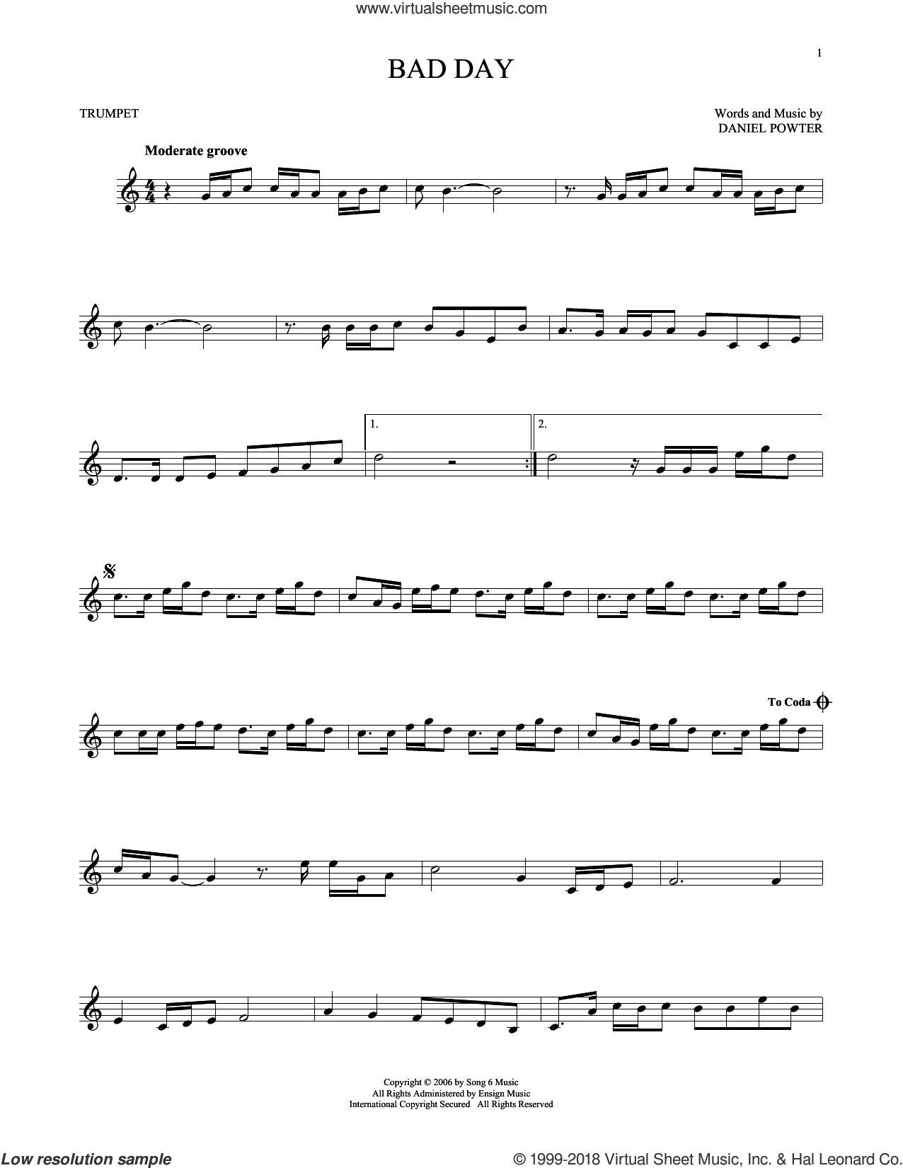 Bad Day sheet music for trumpet solo by Daniel Powter, intermediate skill level