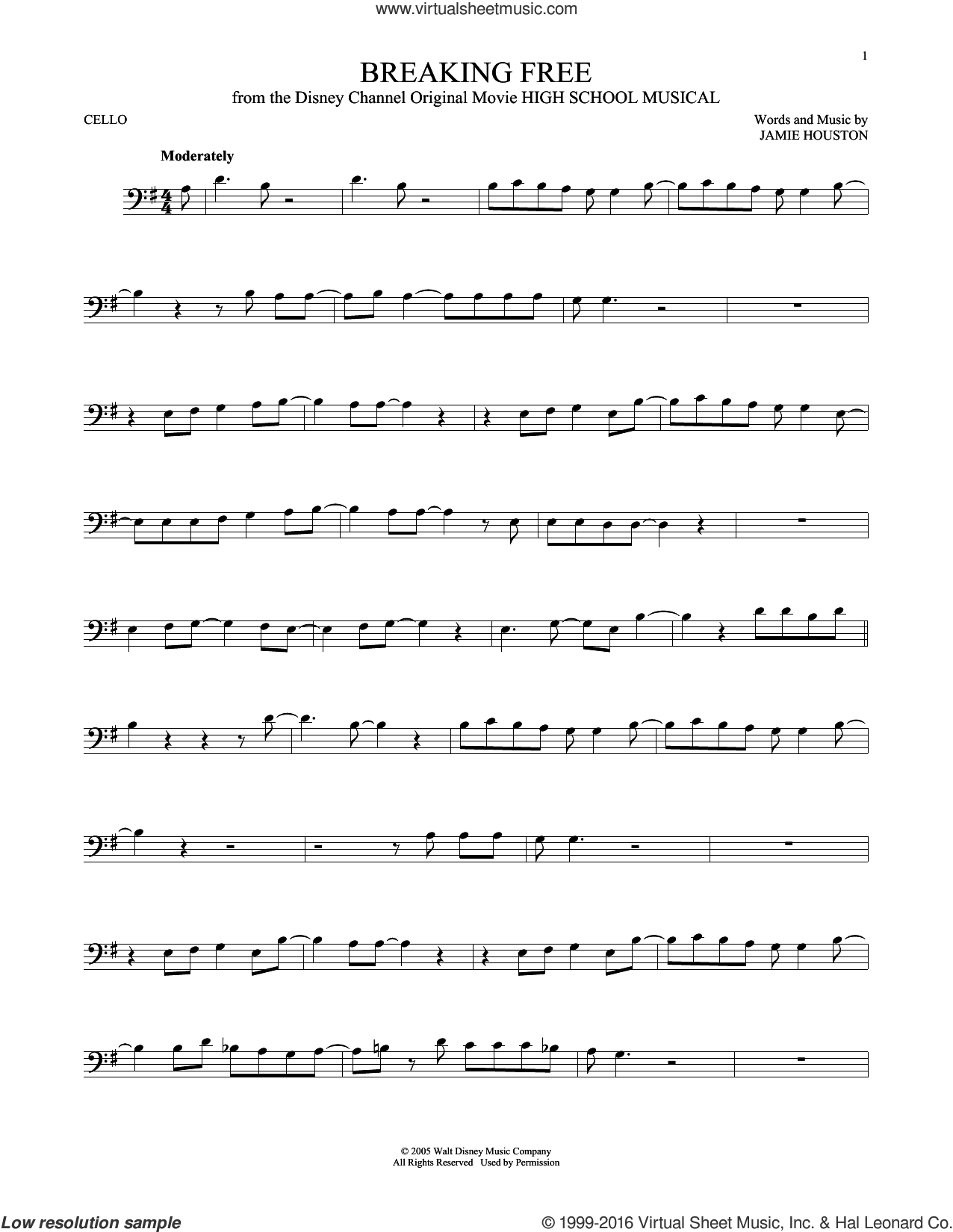 Breaking Free (from High School Musical) sheet music for cello solo by Jamie Houston and Zac Efron and Vanessa Anne Hudgens, intermediate skill level