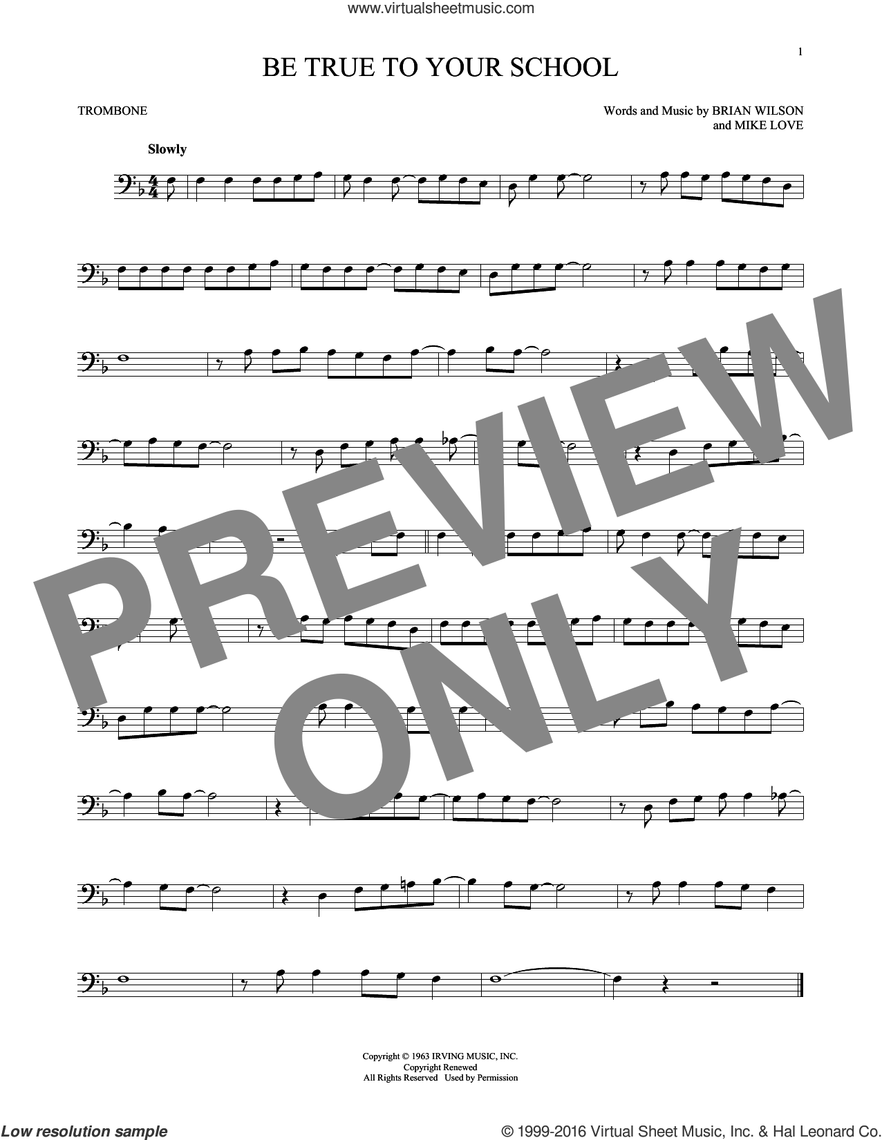 Be True To Your School sheet music for trombone solo by The Beach Boys and Brian Wilson, intermediate. Score Image Preview.