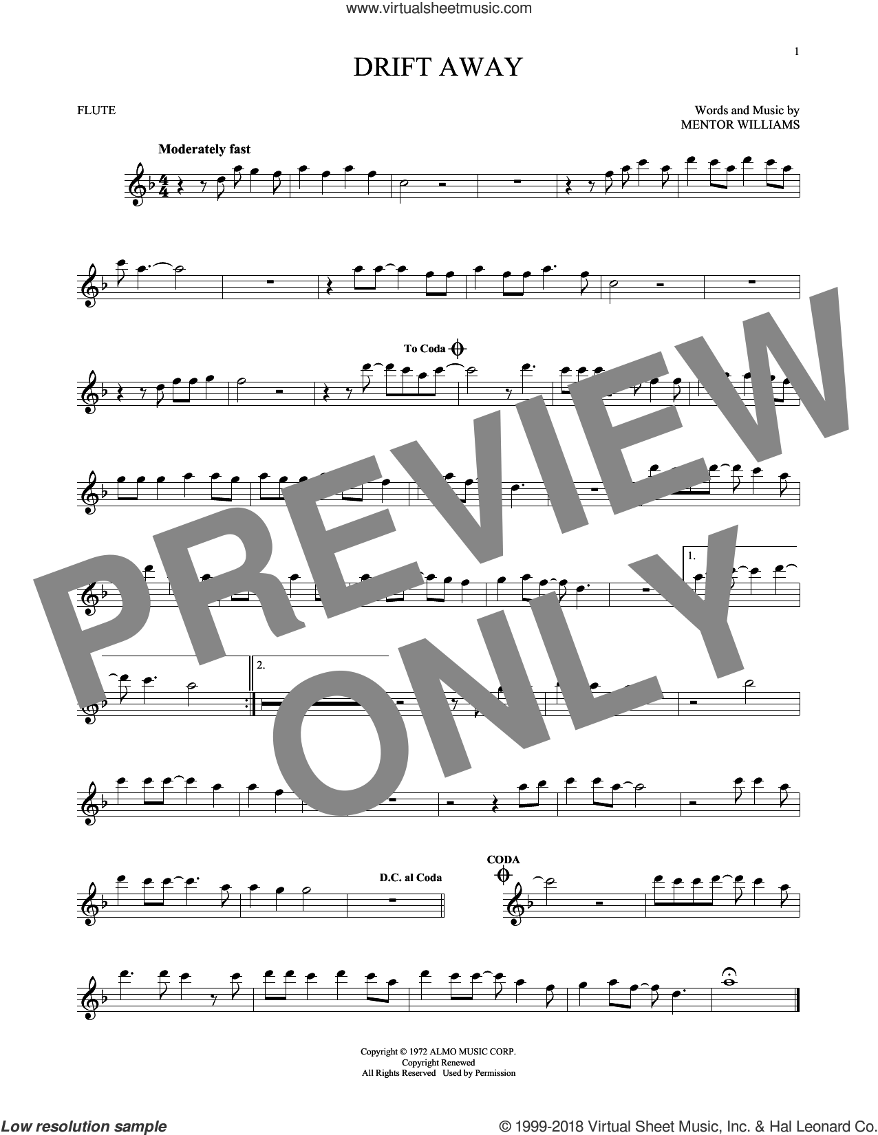 Drift Away sheet music for flute solo by Mentor Williams and Dobie Gray. Score Image Preview.