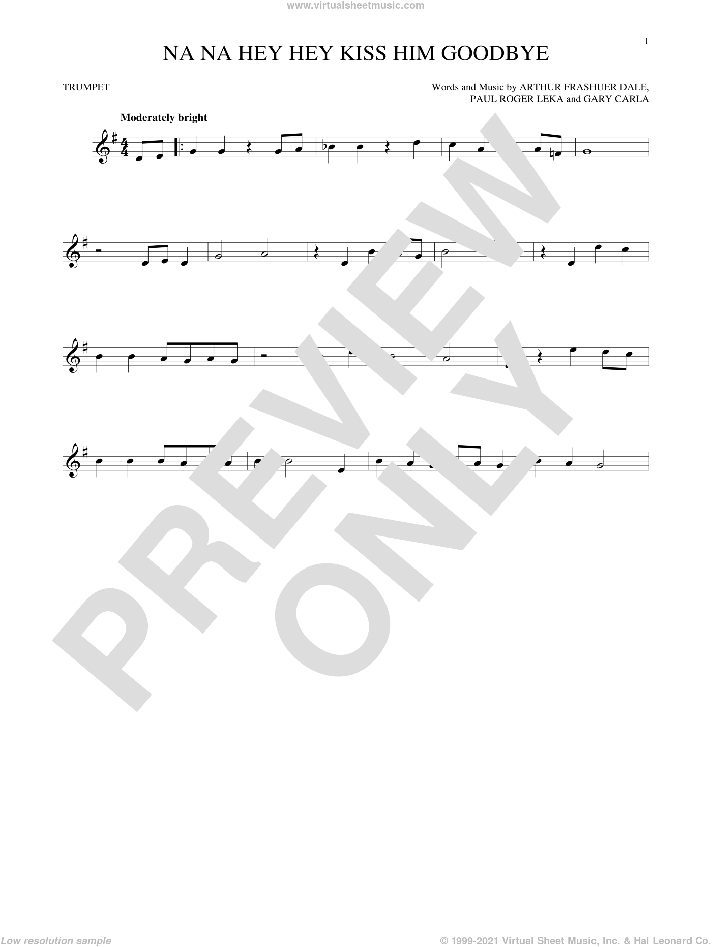 Na Na Hey Hey Kiss Him Goodbye sheet music for trumpet solo by Paul Leka, Steam, Dale Frashuer and Gary De Carlo. Score Image Preview.