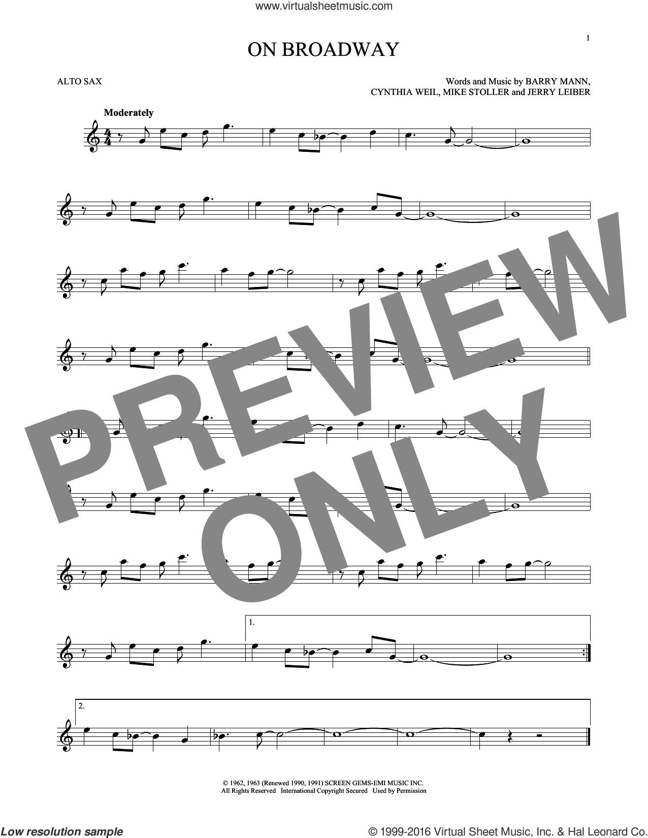 On Broadway sheet music for alto saxophone solo by Mike Stoller, George Benson, The Drifters, Barry Mann, Cynthia Weil and Jerry Leiber. Score Image Preview.