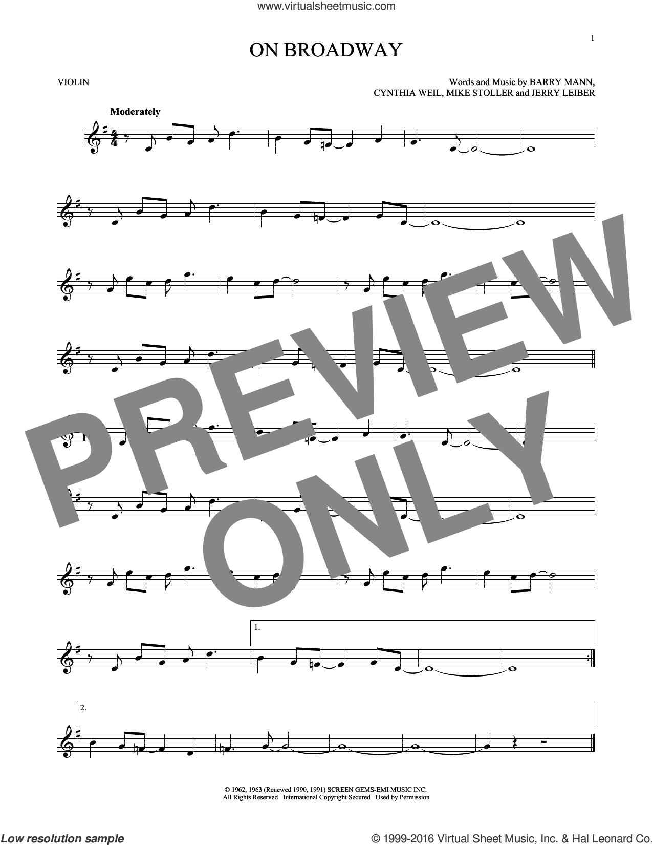On Broadway sheet music for violin solo by George Benson, The Drifters, Barry Mann, Cynthia Weil, Jerry Leiber and Mike Stoller, intermediate. Score Image Preview.