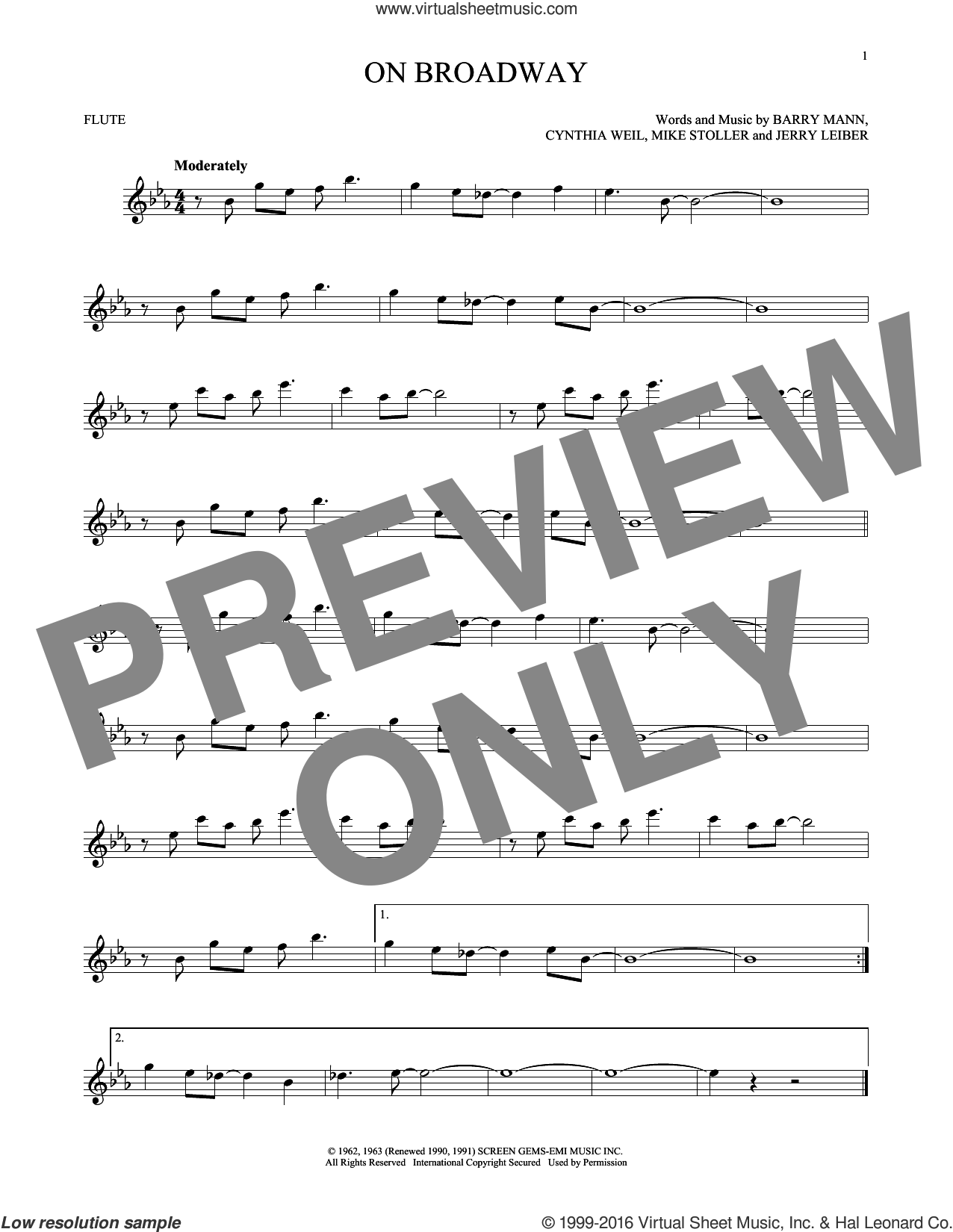 On Broadway sheet music for flute solo by Mike Stoller, George Benson, The Drifters, Barry Mann, Cynthia Weil and Jerry Leiber. Score Image Preview.