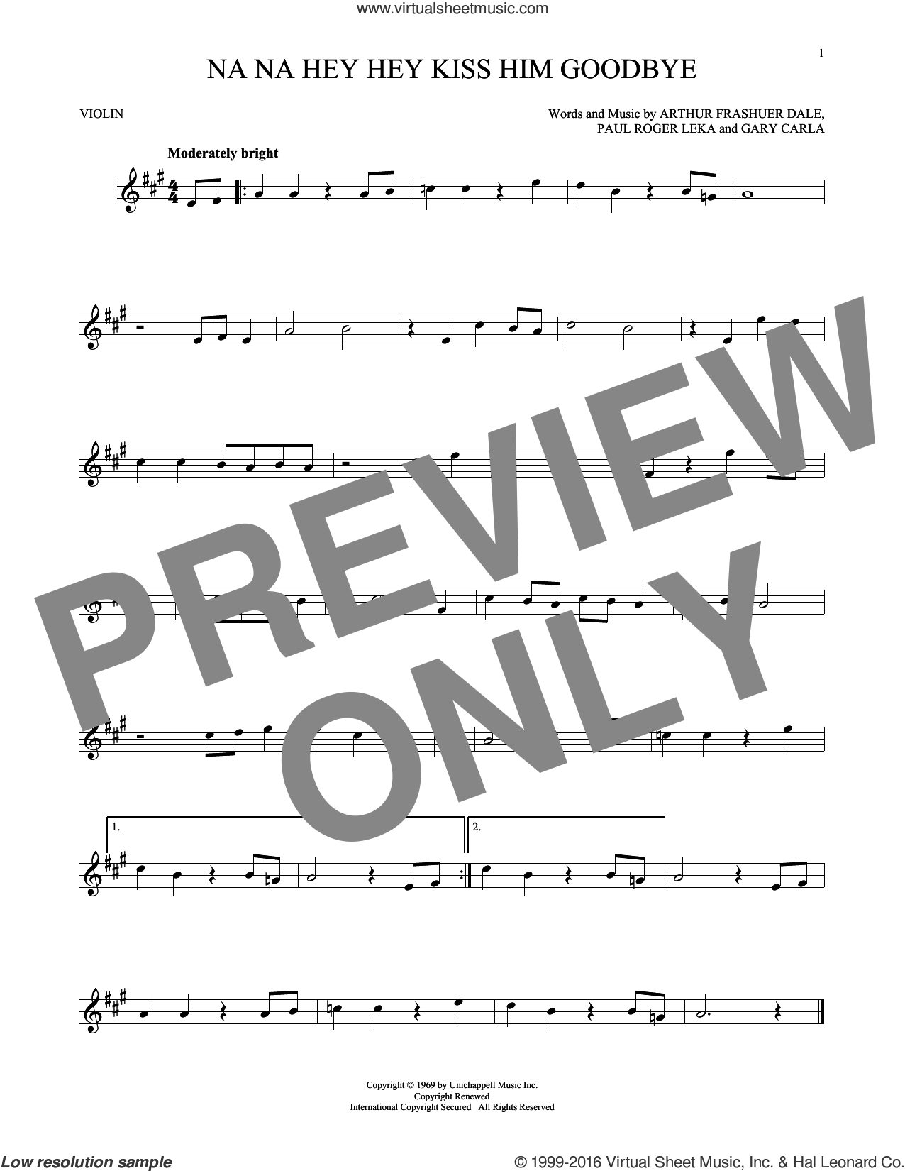Na Na Hey Hey Kiss Him Goodbye sheet music for violin solo by Steam, Dale Frashuer, Gary De Carlo and Paul Leka, intermediate violin. Score Image Preview.