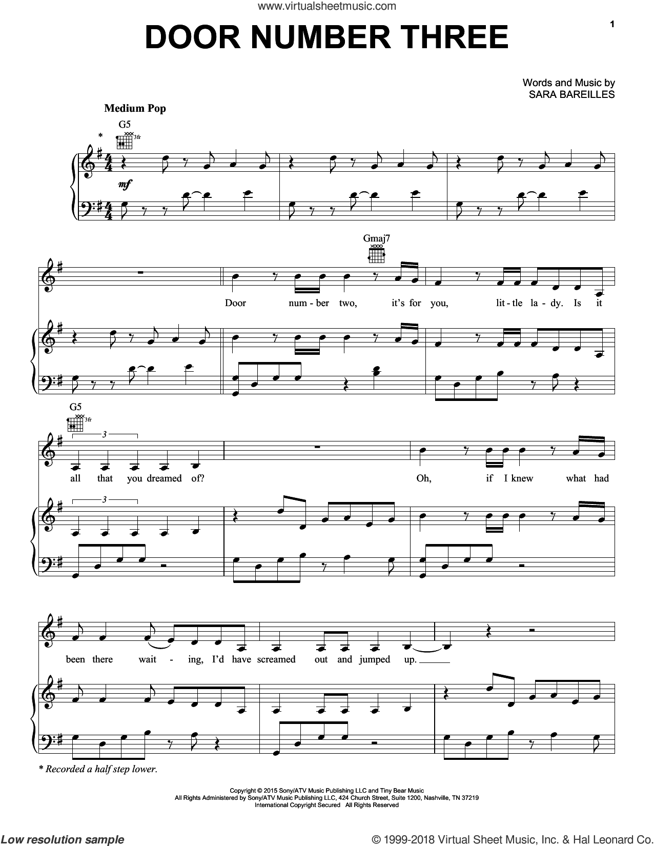 Door Number Three sheet music for voice, piano or guitar by Sara Bareilles. Score Image Preview.