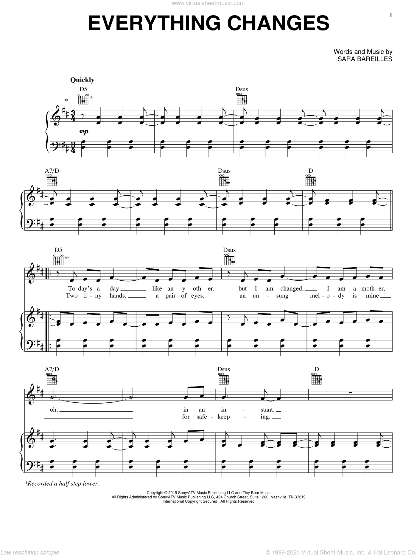 Everything Changes sheet music for voice, piano or guitar by Sara Bareilles. Score Image Preview.