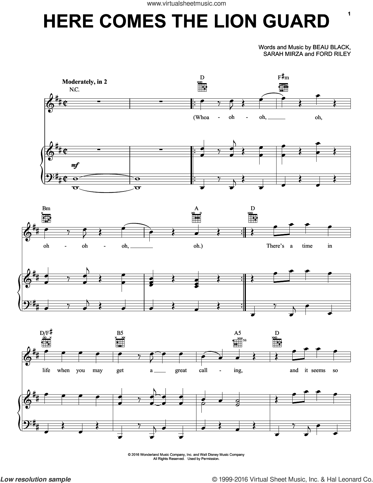 Here Comes The Lion Guard sheet music for voice, piano or guitar by Beau Black, Ford Riley and Sarah Mirza, intermediate skill level